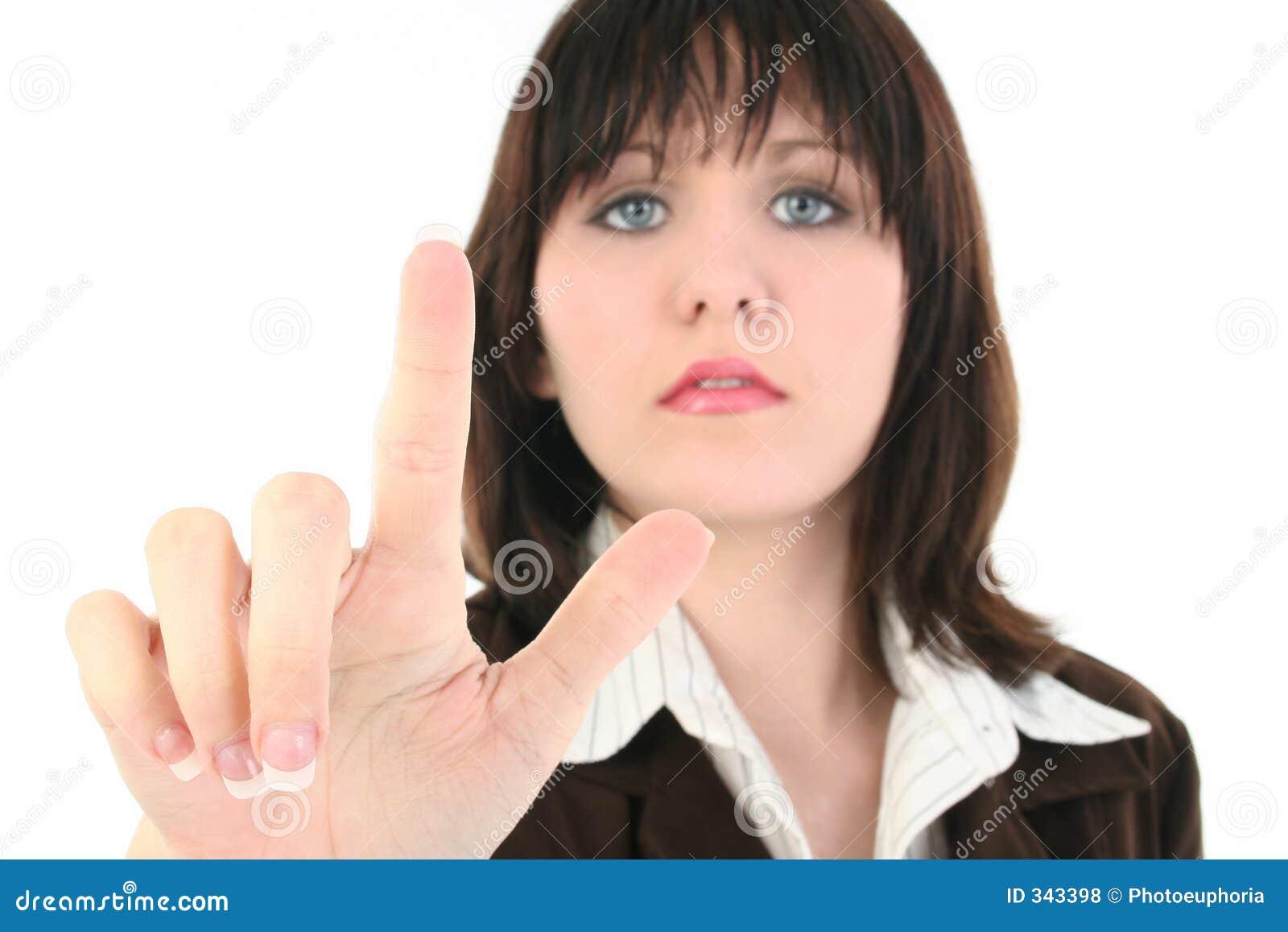 Jonge BedrijfsVrouw met omhoog de Vinger van de Holding