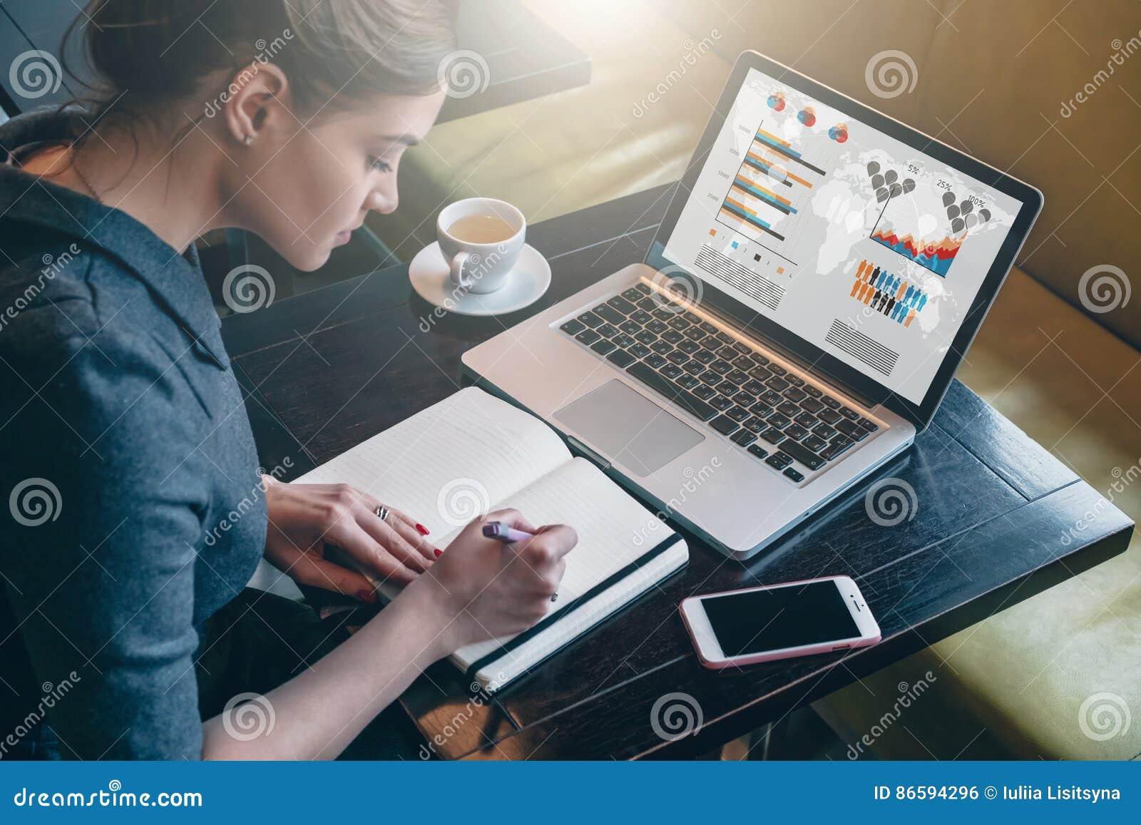 Jonge bedrijfsvrouwenzitting bij lijst en het nemen van nota s in notitieboekje Op de grafiek en de grafieken van het computersch