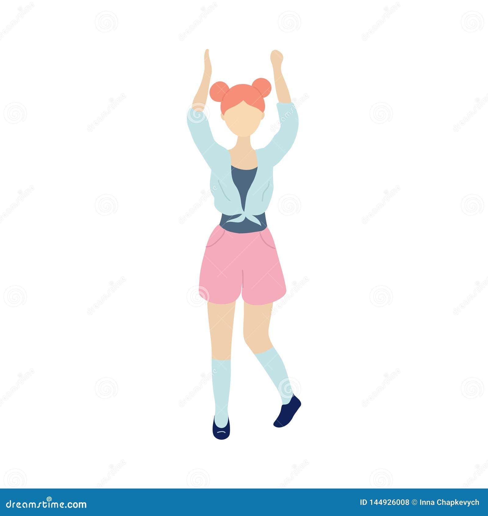Jonge dansende uiterst kleine modieuze vrouw