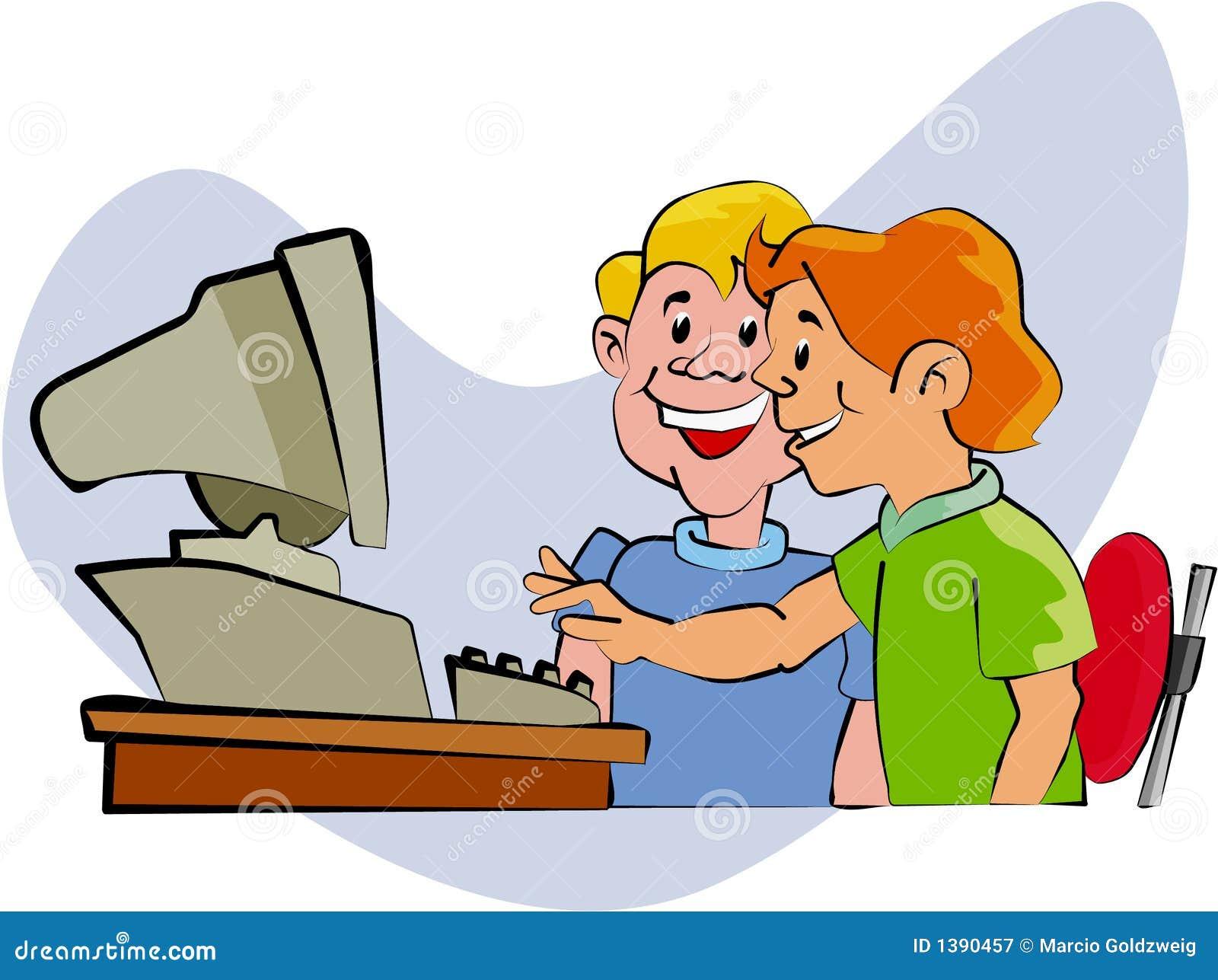 Jonge geitjes bij Computer