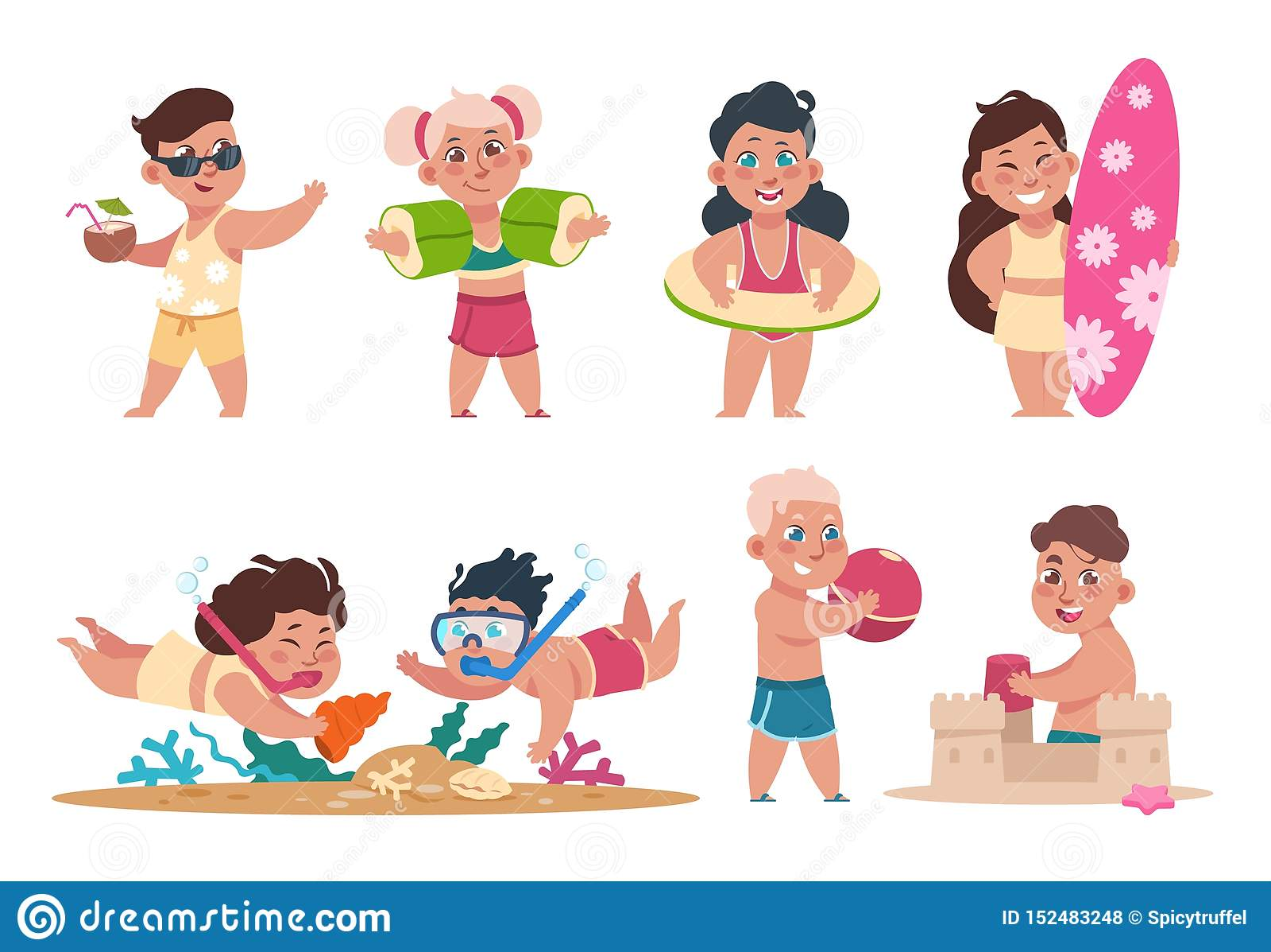 Jonge geitjes bij strand Beeldverhaal gelukkige kinderen die het spelen bal zwemmen en het doen van de zomeractiviteiten op vakan