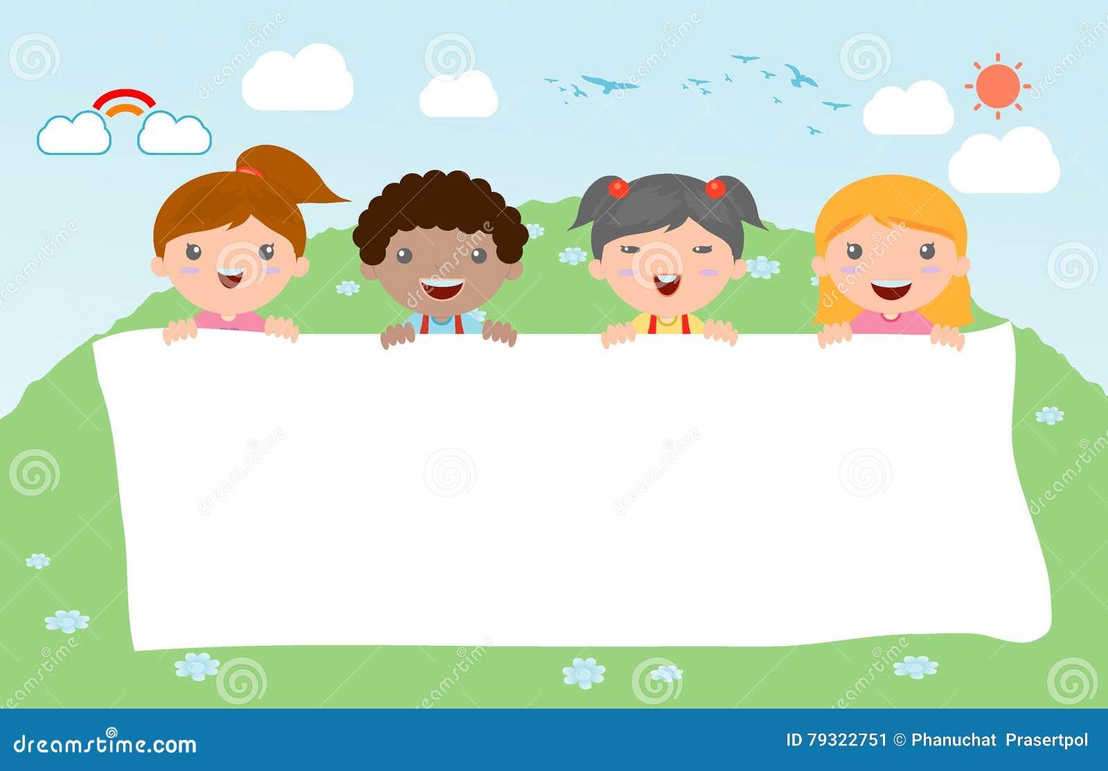 Jonge geitjes die achter aanplakbiljet, gelukkige kinderen, Leuke kleine jonge geitjes op witte achtergrond, Vector piepen