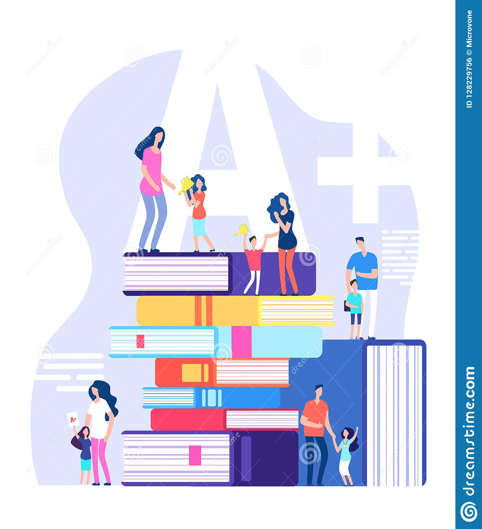 Jonge geitjes die concept leren Uitstekende leerlingen, die ouders en leraren met reusachtige boeken prijzen Het onderwijsvector