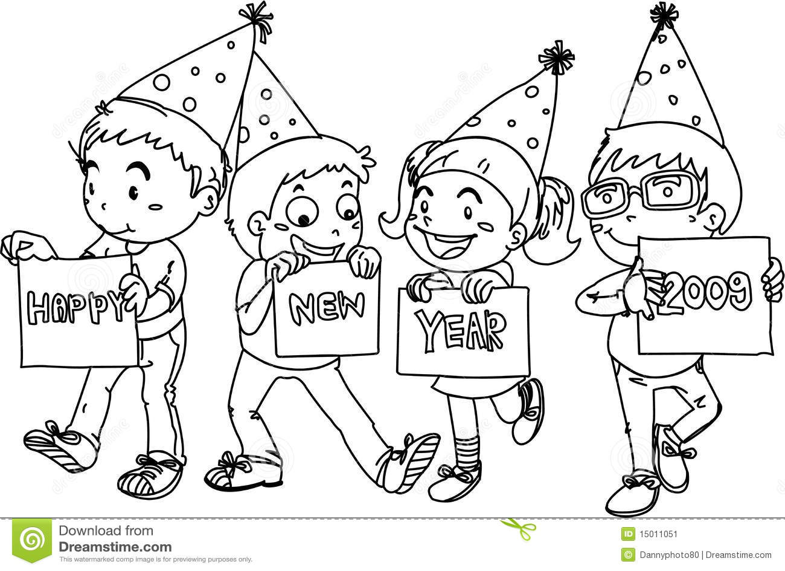Kleurplaat Kerst Oud En Nieuw Jonge Geitjes Die Gelukkig Nieuwjaar Wensen Vector