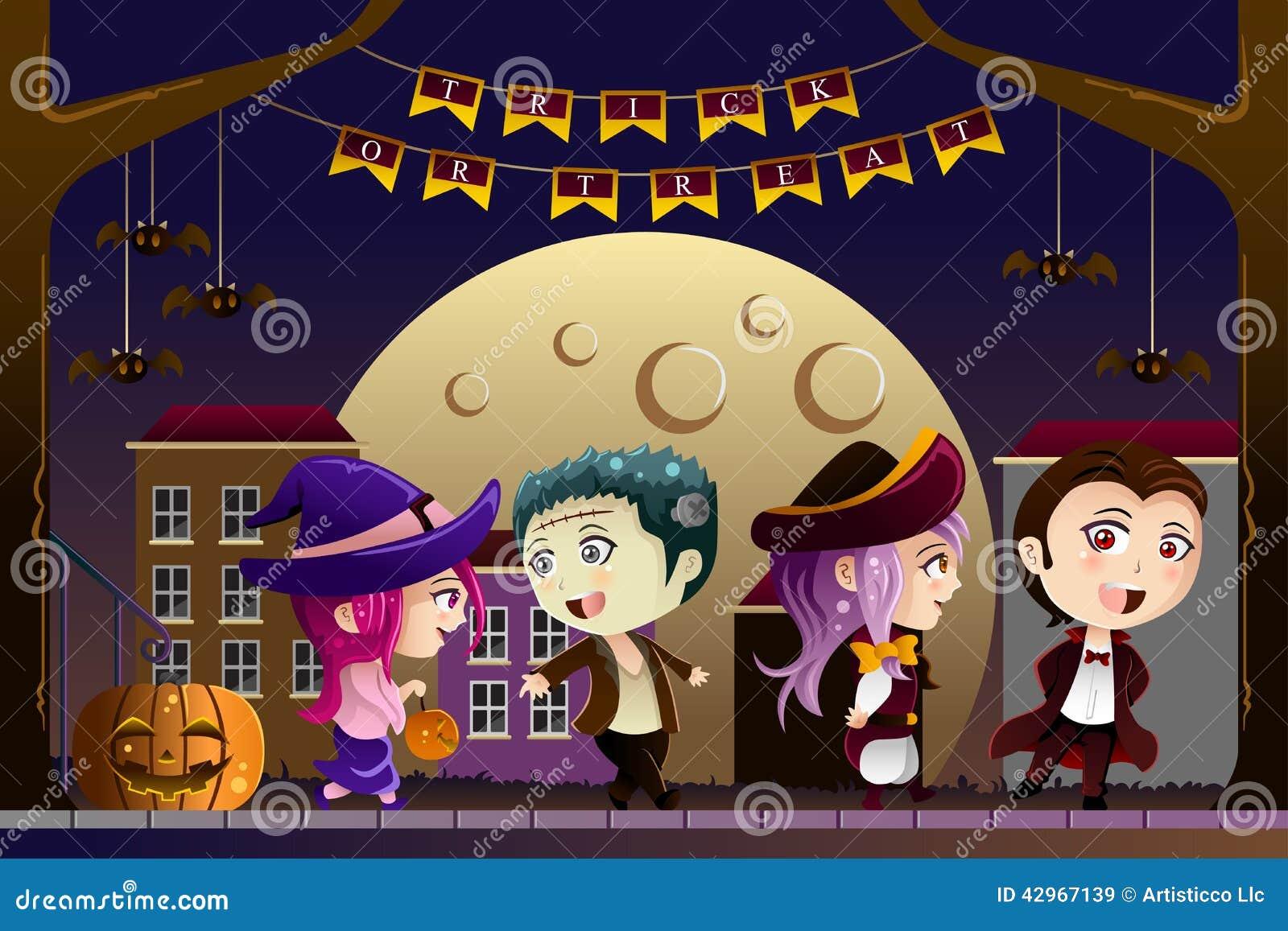 Jonge geitjes die Halloween-kostuums dragen