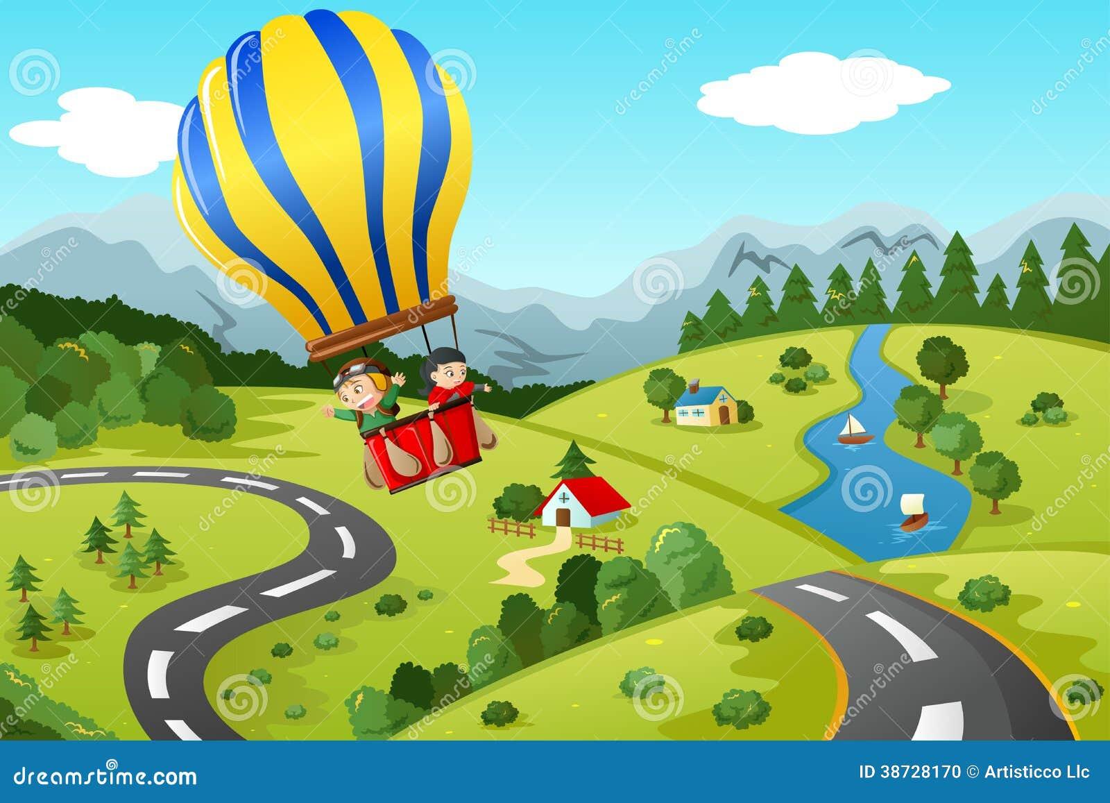 Jonge geitjes die hete luchtballon berijden