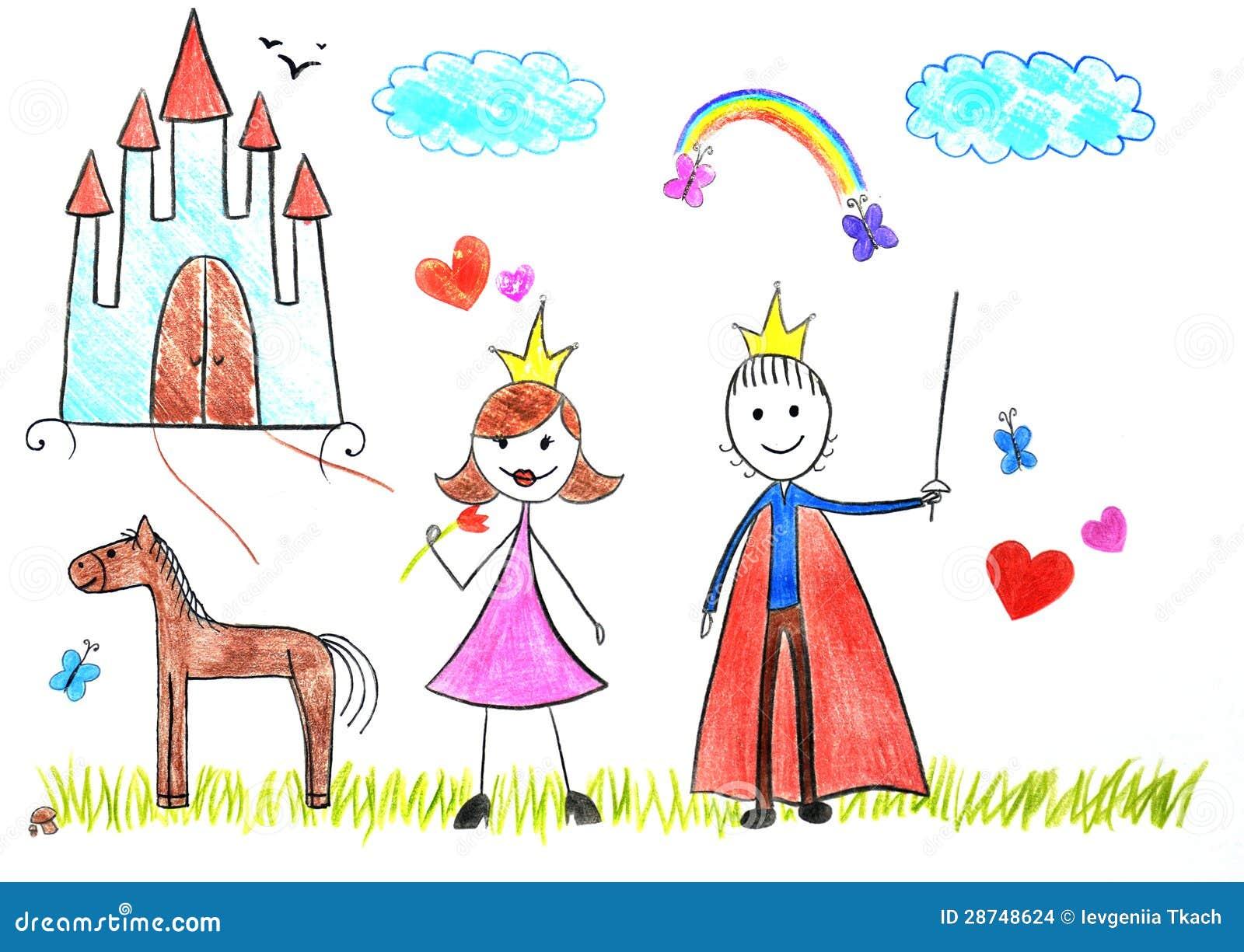 Jonge geitjes die prinses en prins trekken