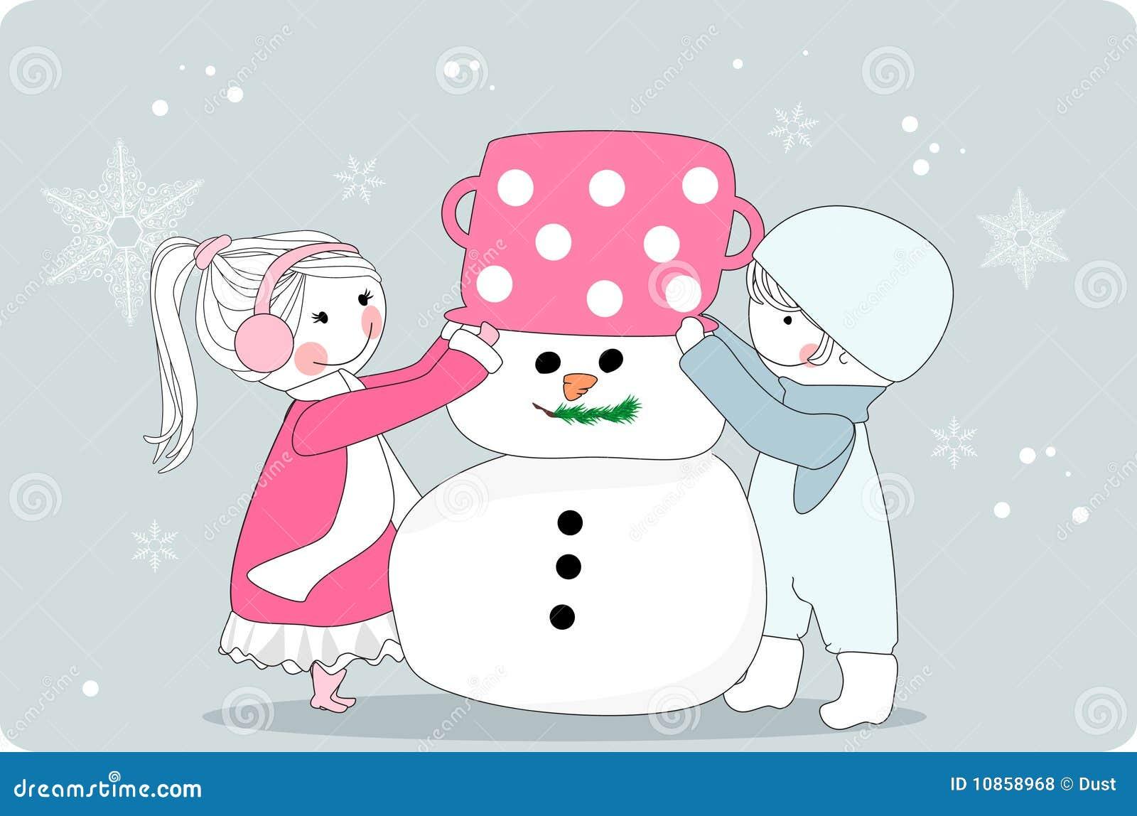 Jonge geitjes die sneeuwman maken