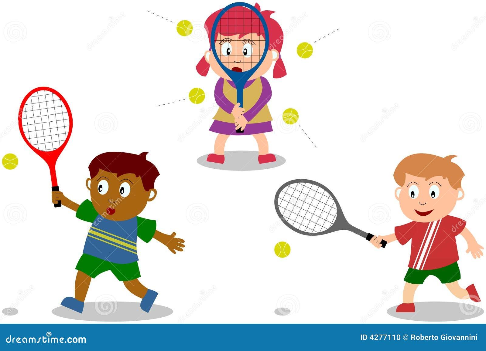 Jonge geitjes die tennis spelen stock foto beeld 4277110