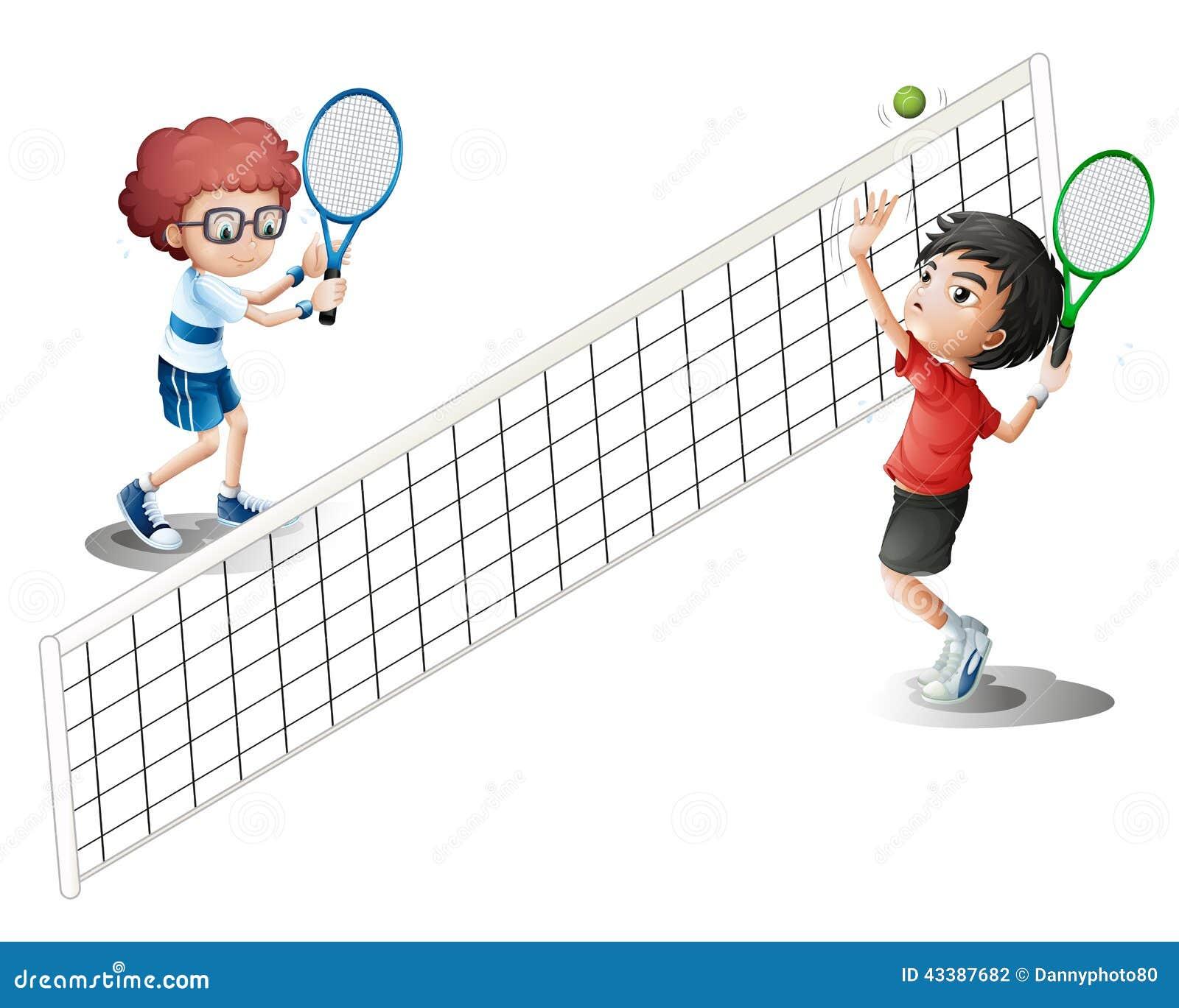 Jonge geitjes die Tennis spelen