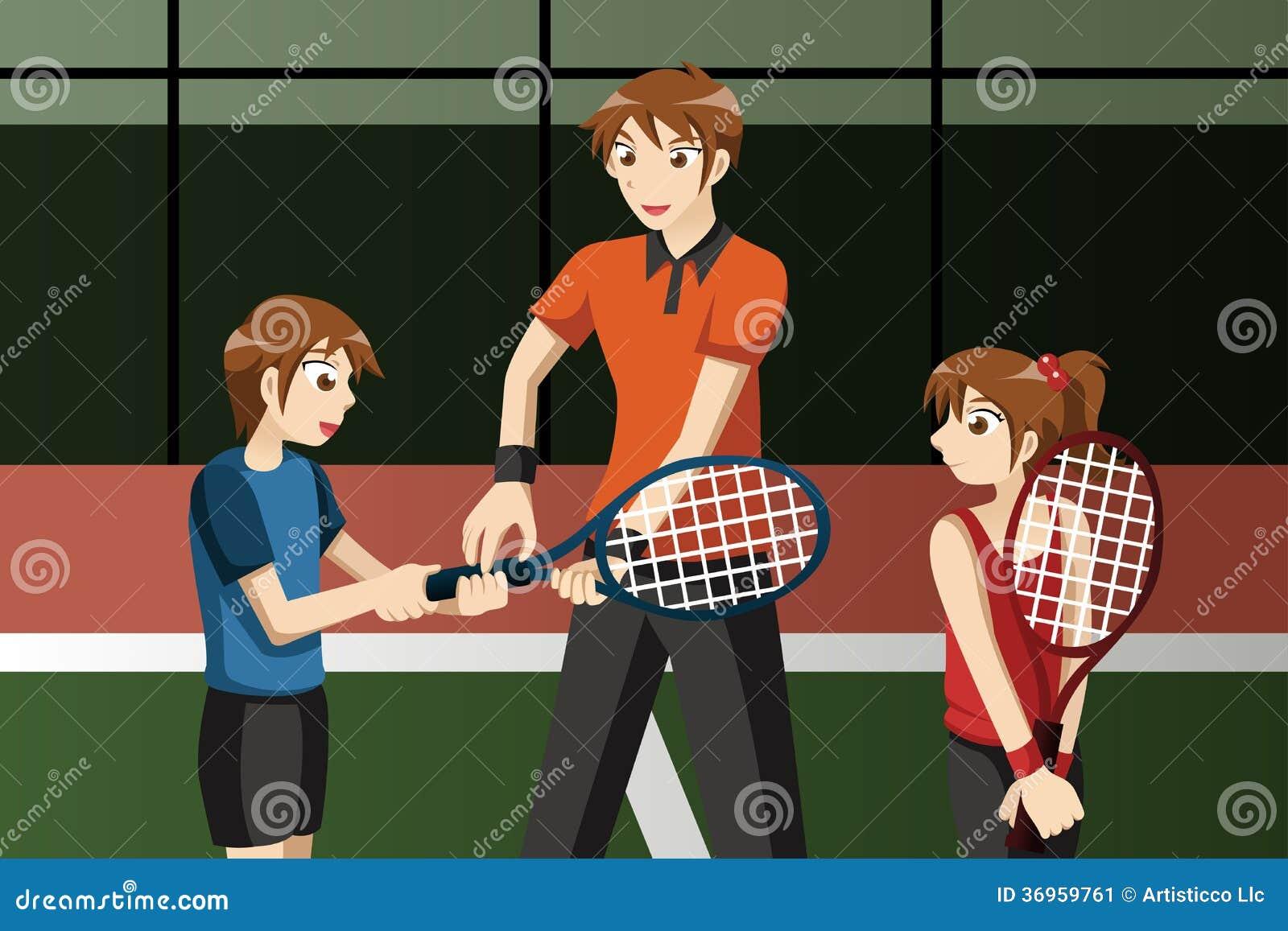 Jonge geitjes in een tennisclub met de instructeur