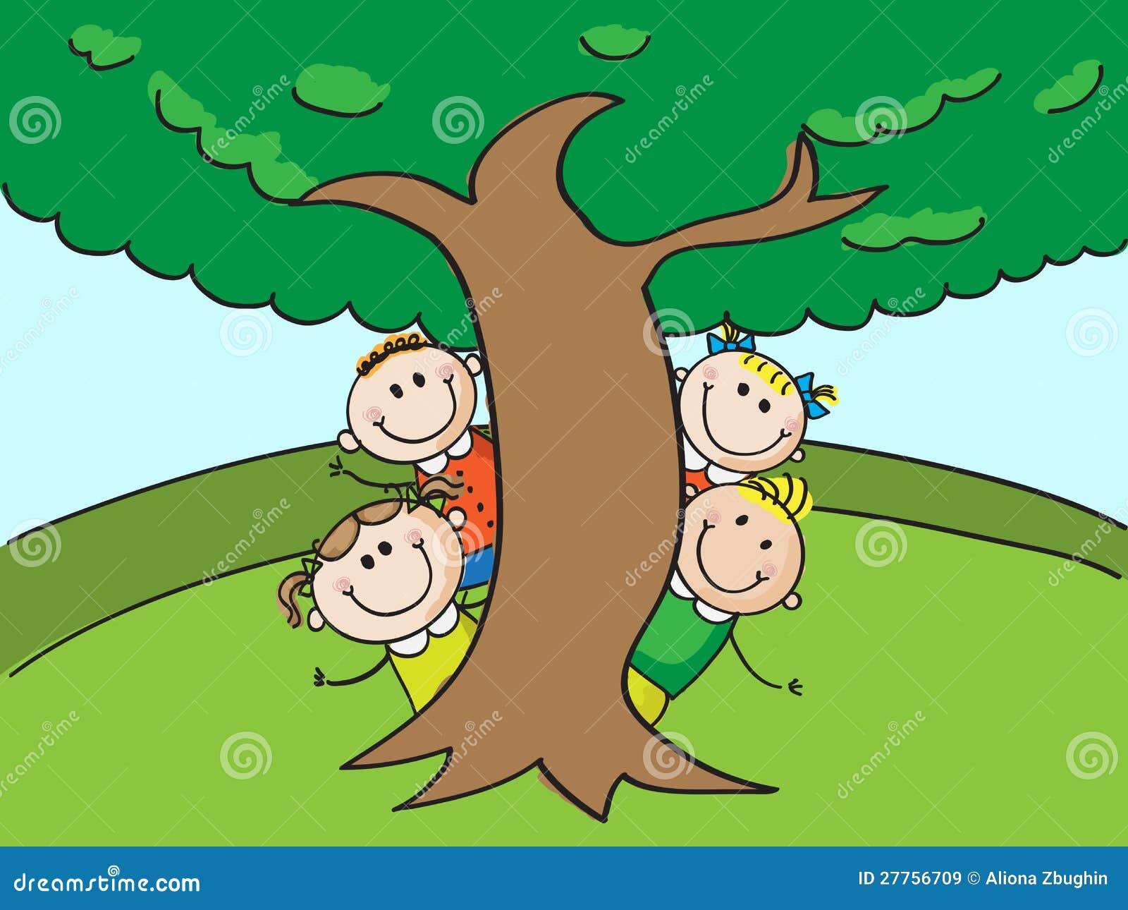 Jonge geitjes en boom