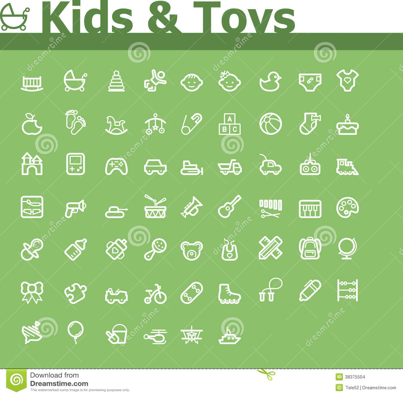 Jonge geitjes en speelgoedpictogramreeks