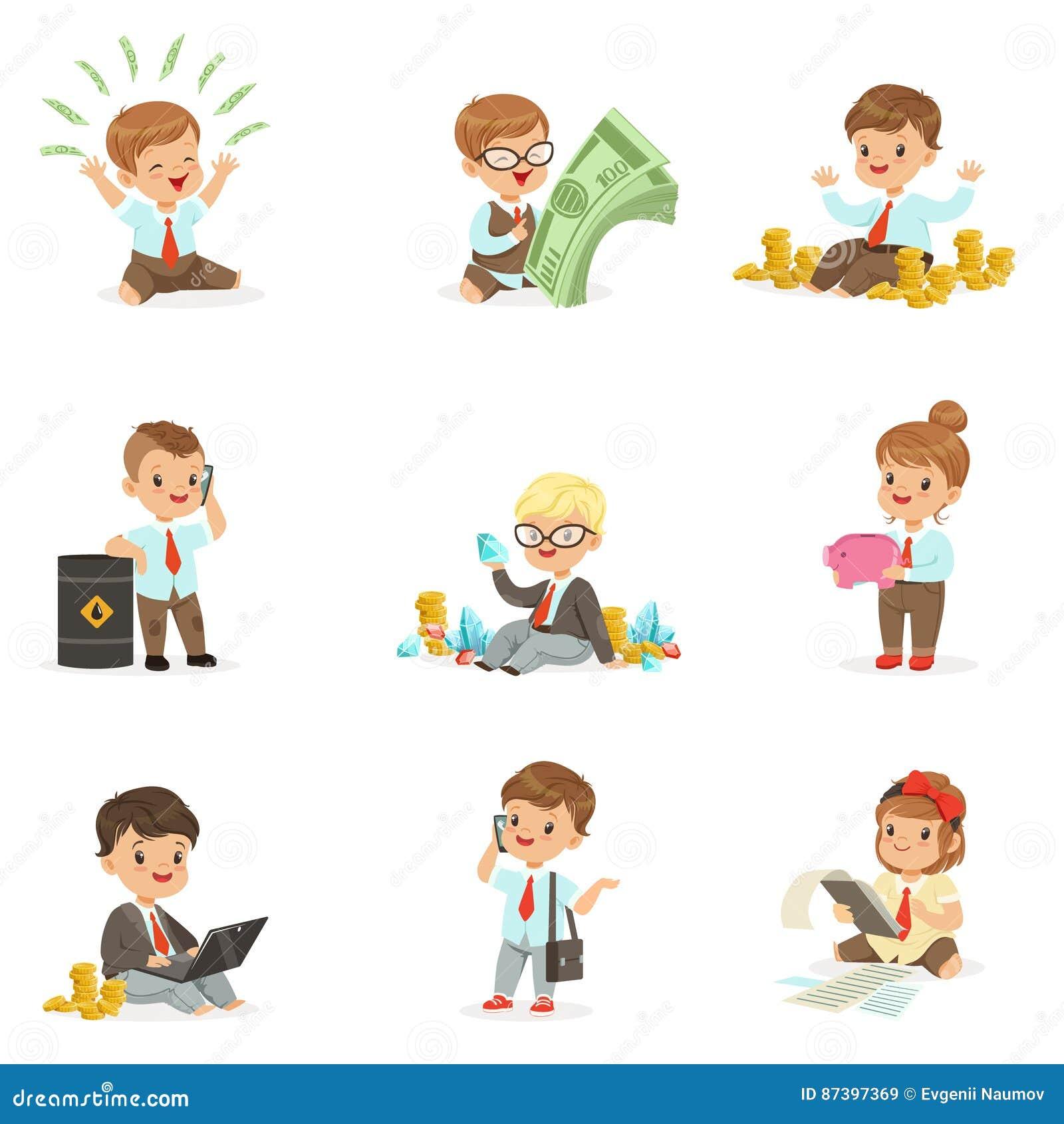 Jonge geitjes in Financiële Bedrijfsinzameling van Leuke Jongens en Meisjes die als Geld van Zakenmandealing with big werken