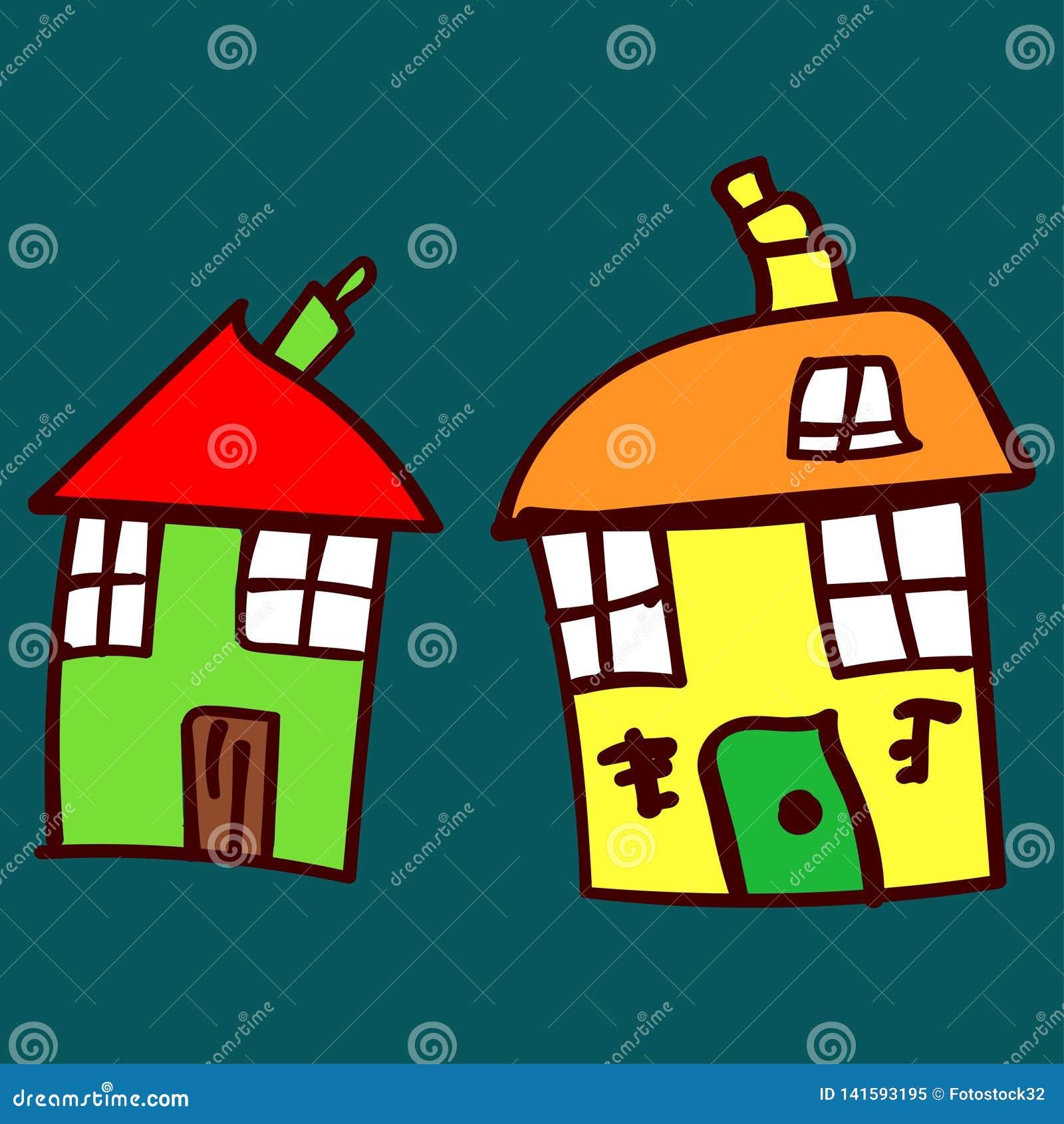 Jonge geitjes geschilderde huizen in krabbelstijl