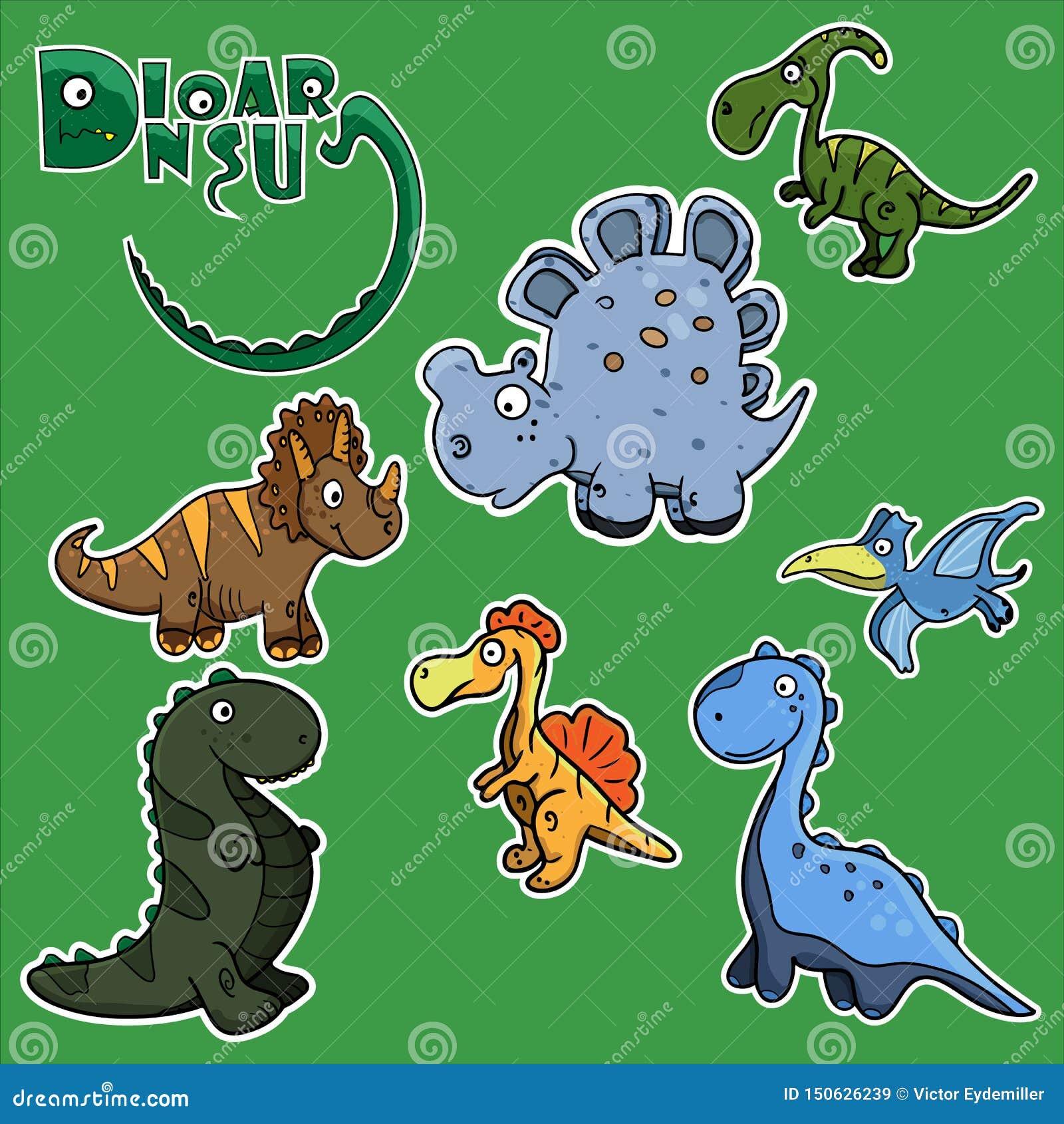 Jonge geitjes grappige stickers in de vorm van leuke dinosaurussen