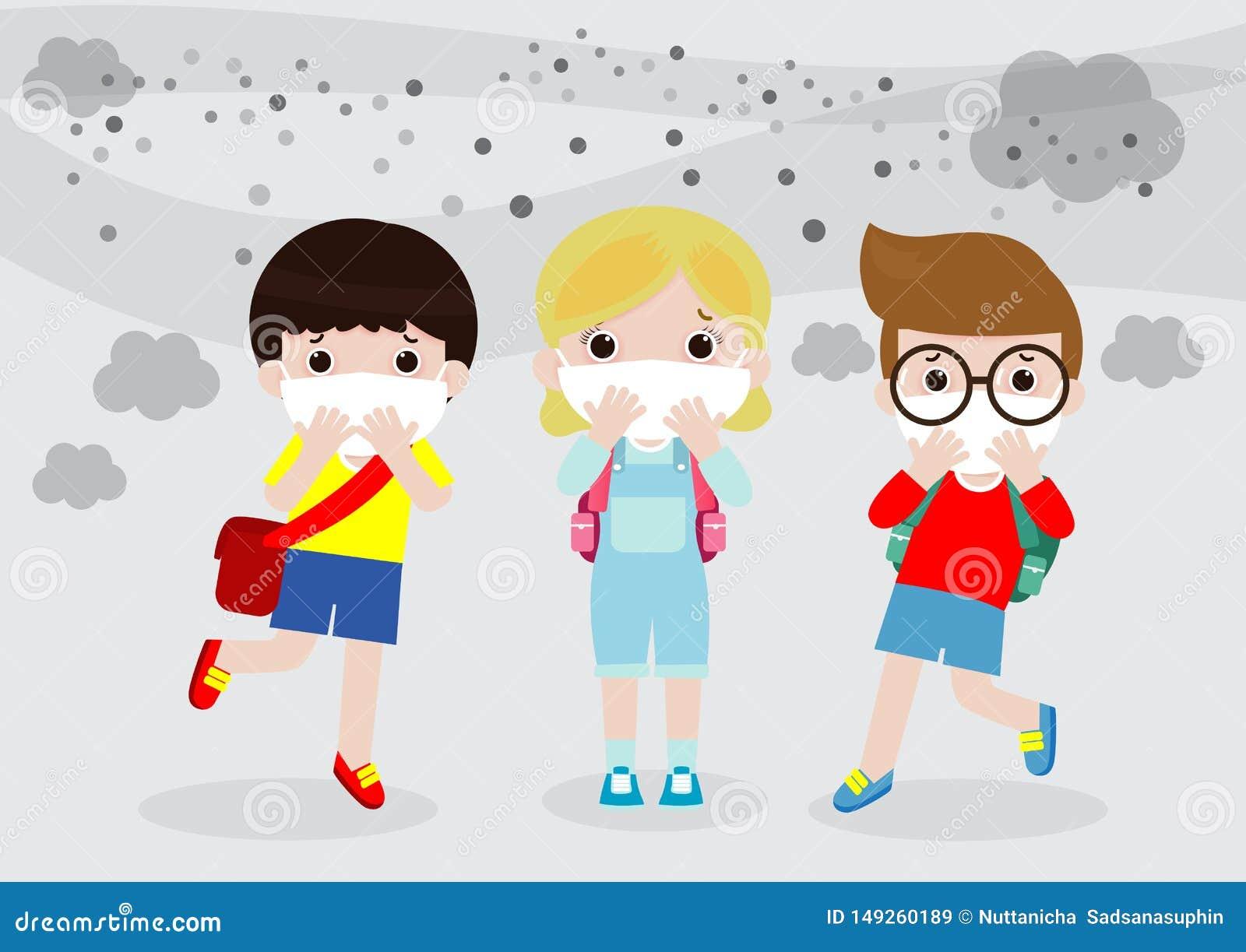 Jonge geitjes in maskers wegens fijn stof, jongen en meisje die masker dragen tegen smog Fijn stof, luchtvervuiling, industri?le