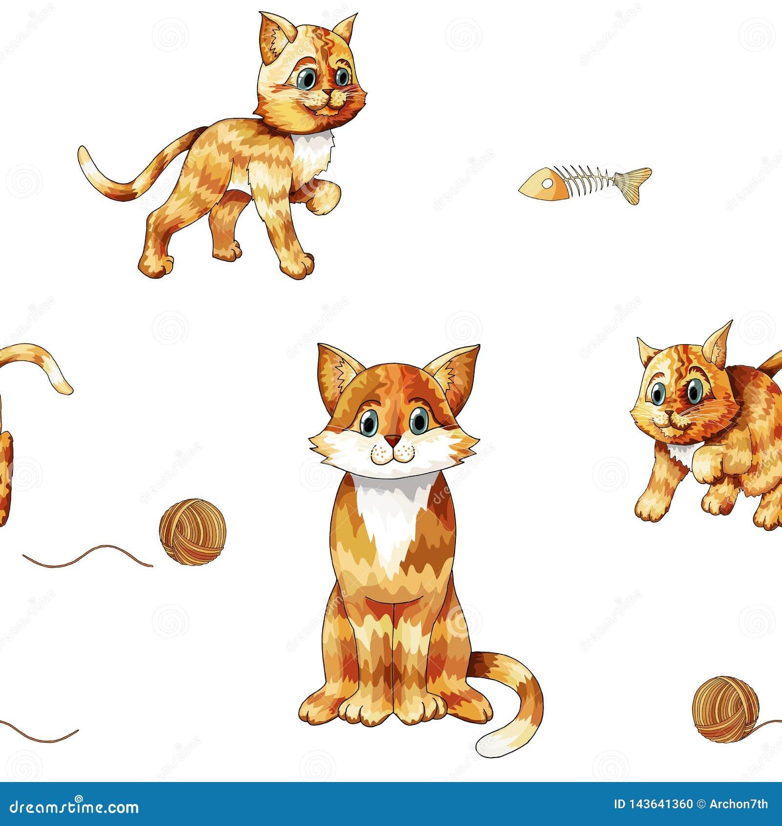 Jonge geitjes naadloos patroon met leuke zittings kleurrijke katten Krabbel oranje katjes
