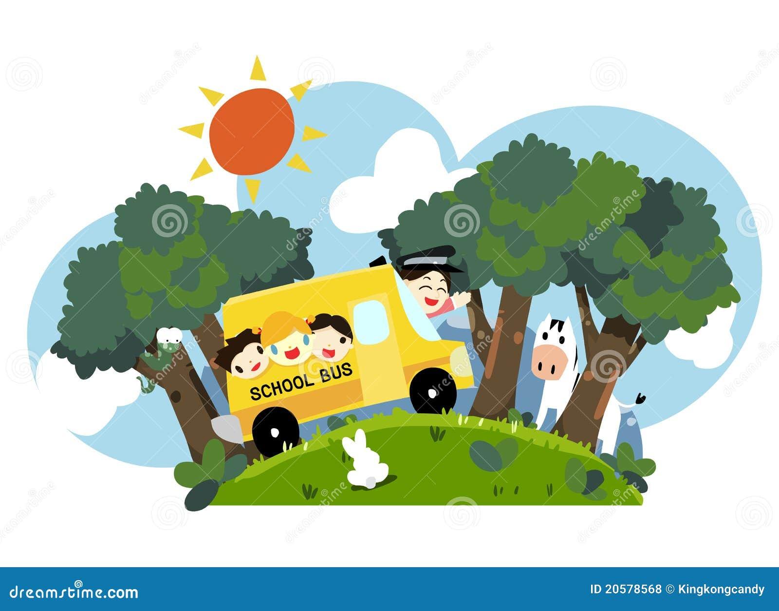 Jonge geitjes op schoolbus - vector