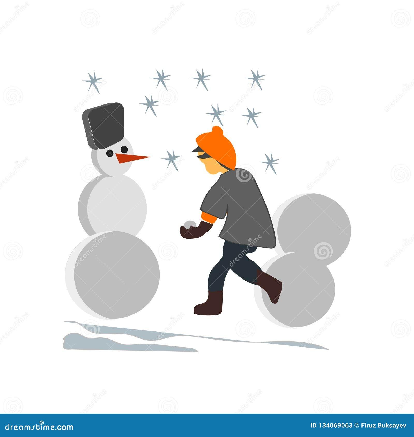 Jonge geitjes sneeuwman vector vectordieteken en symbool maken die op witte achtergrond, Jonge geitjes wordt geïsoleerd die sneeu