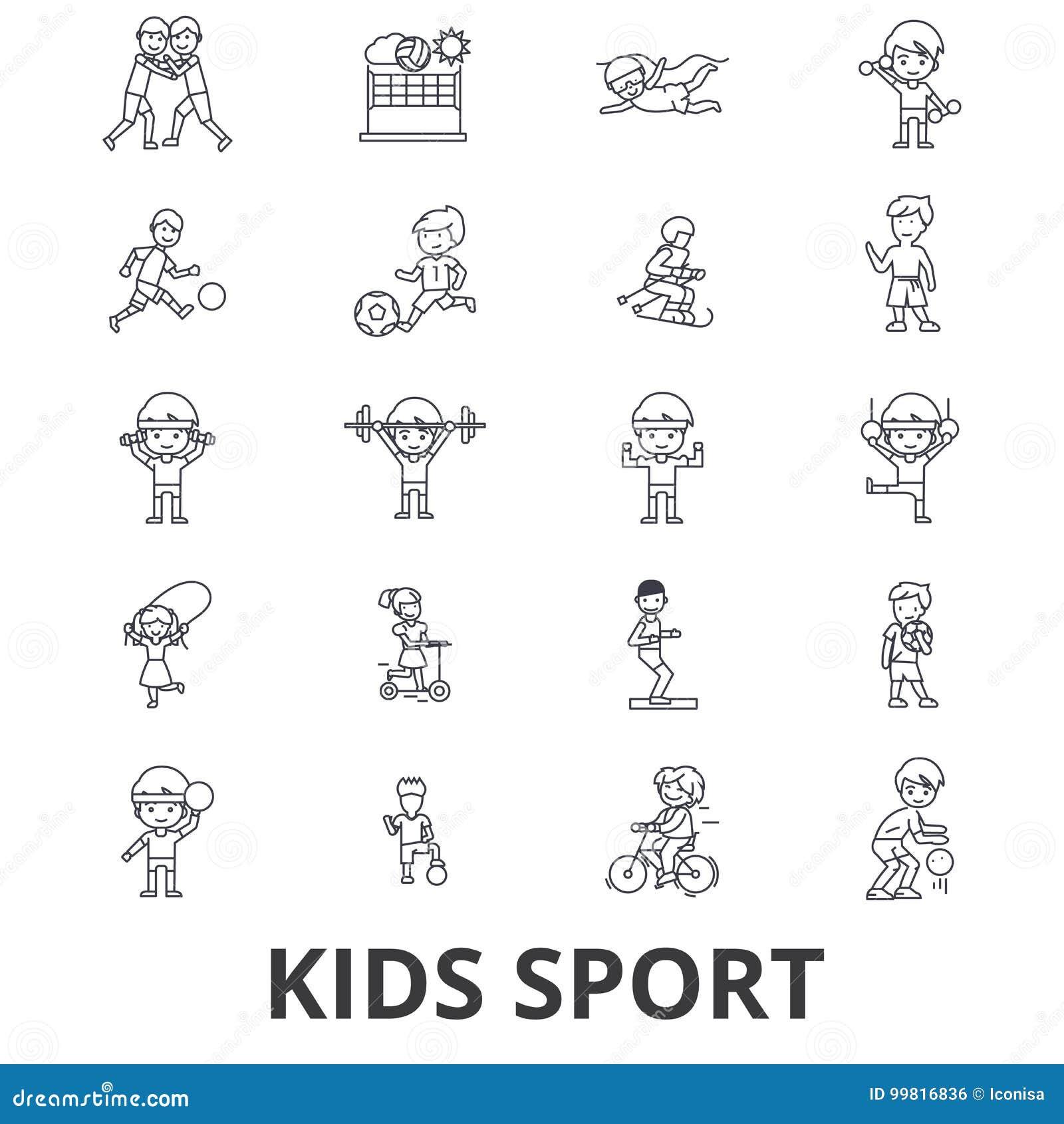 Jonge geitjessport, spel, kinderensporten, voetbal, basketbal, het lopen, het springen, de pictogrammen van de teamlijn Editables