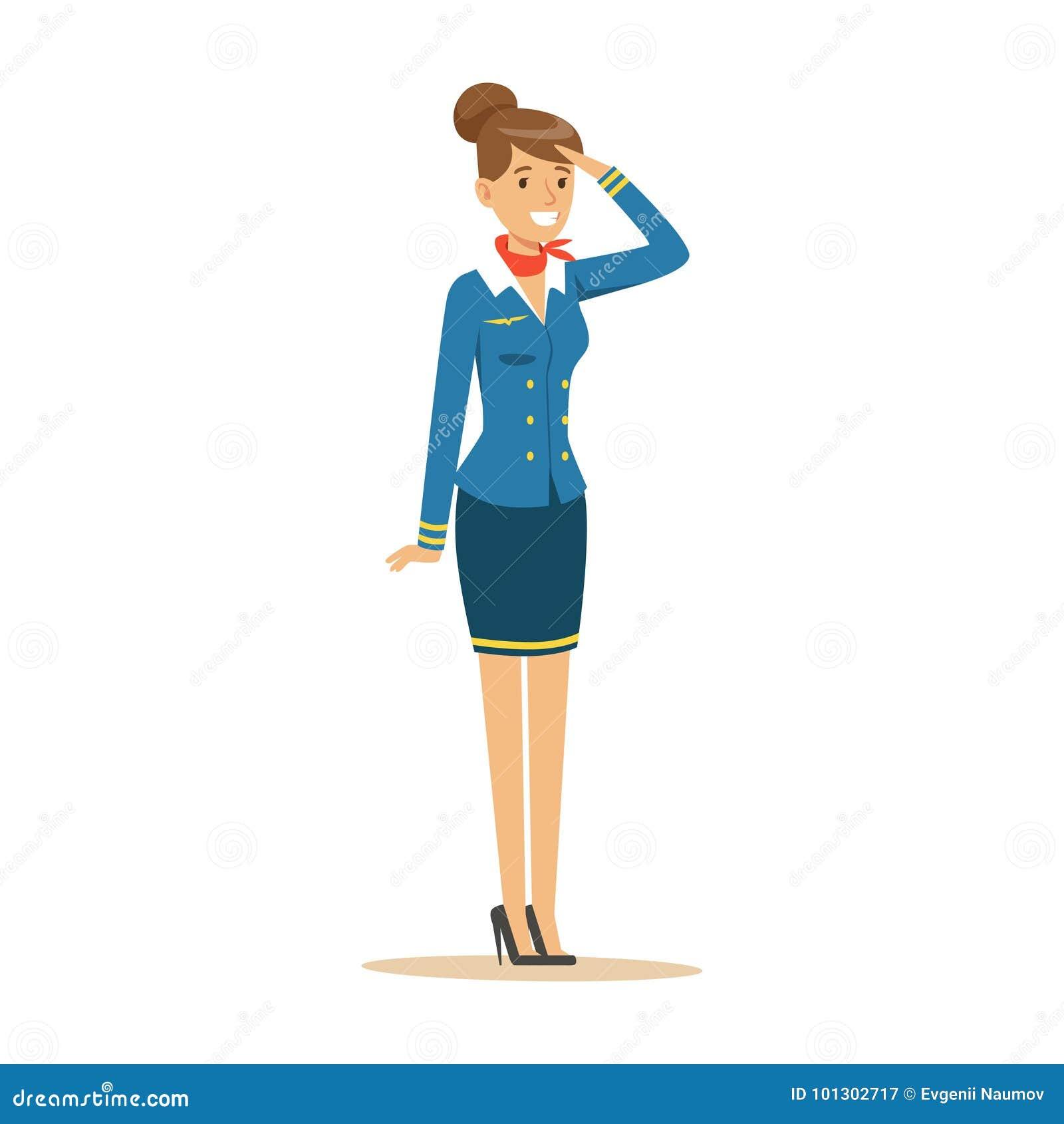 Jonge glimlachende stewardess in blauwe eenvormig