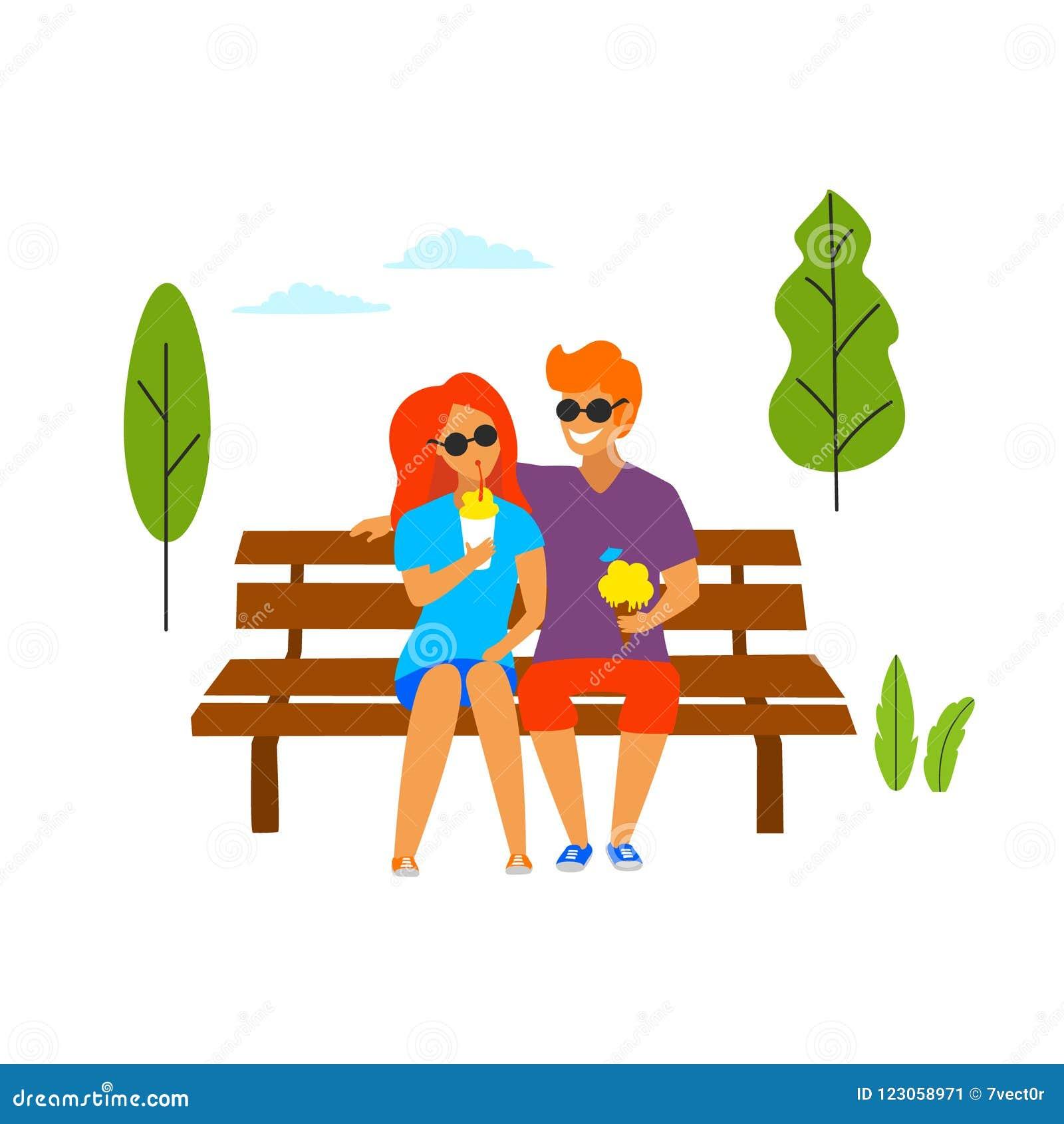 Jonge man en vrouw op een datum in het park die roomijs het flirten geïsoleerde vectorillustratie eten