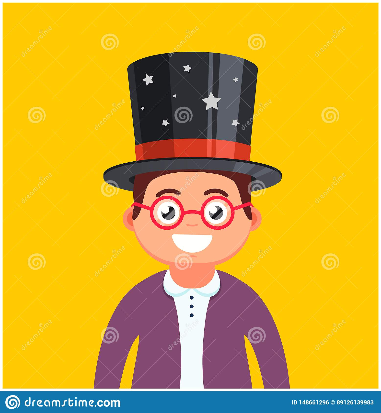 Jonge mens met glazen en een hoed op een gele achtergrond mannelijke tovenaarglimlachen Leuk karakter
