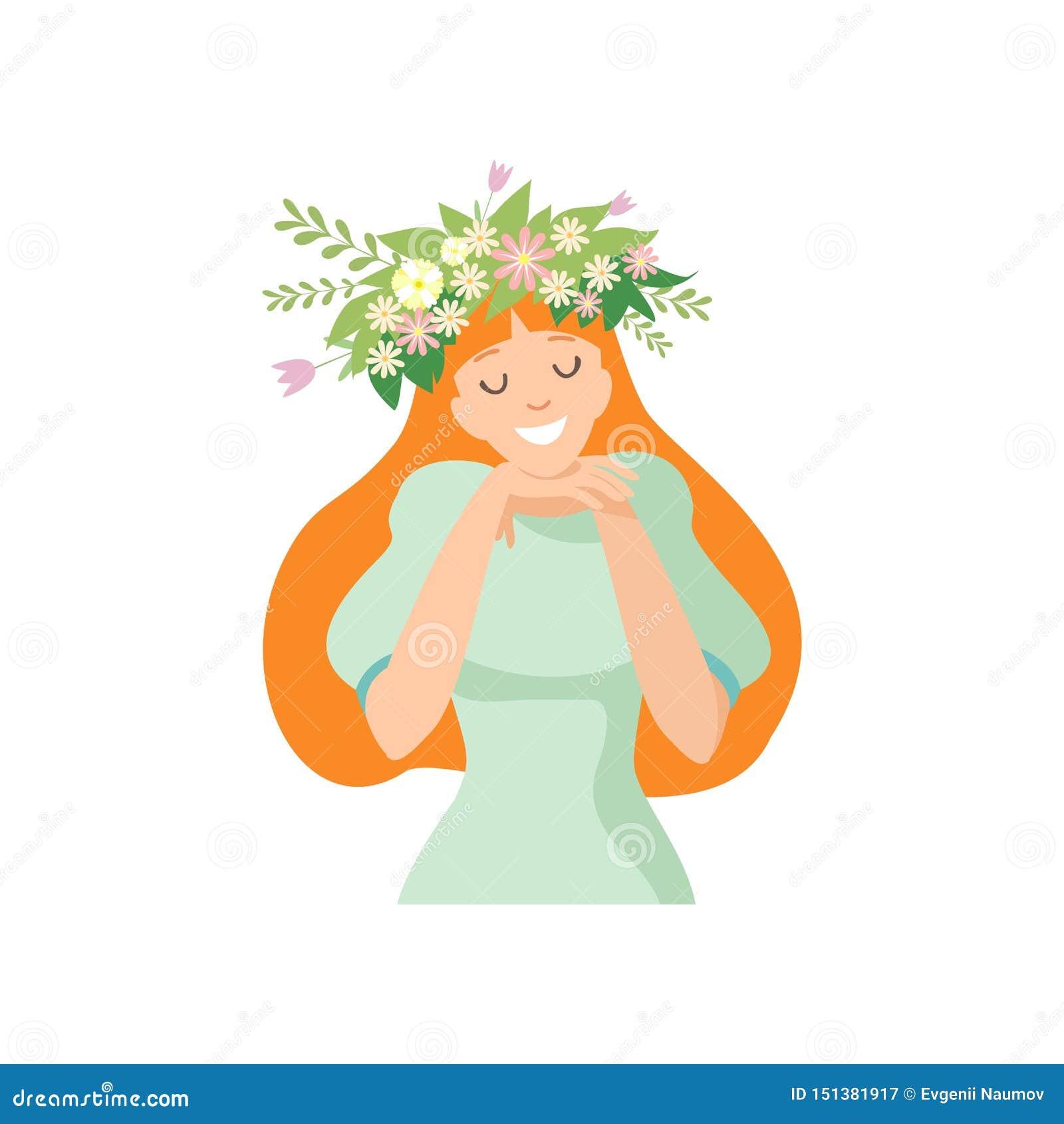 Jonge Mooie Langharige Vrouw met Bloemkroon in Haar Haar, Portret van Elegant Glimlachend Meisje met Bloemenkroon