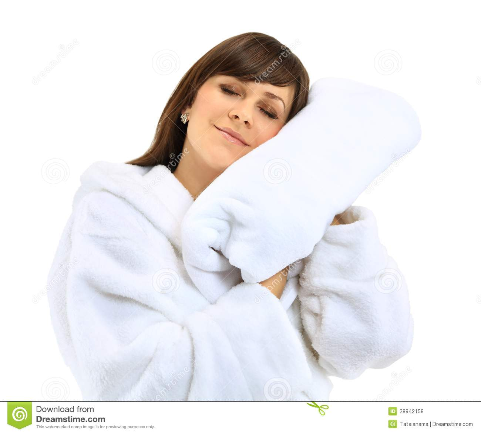 Jonge Mooie Vrouw In Badjas Met Handdoek Royalty vrije Stock Foto u0026#39;s   Afbeelding  28942158