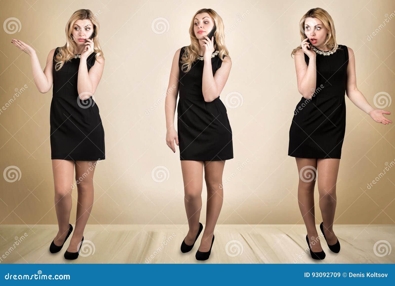 Jonge mooie vrouw in zwarte kleding die op de mobiele telefoon spreken Emotioneel gesprek Een collage van foto s