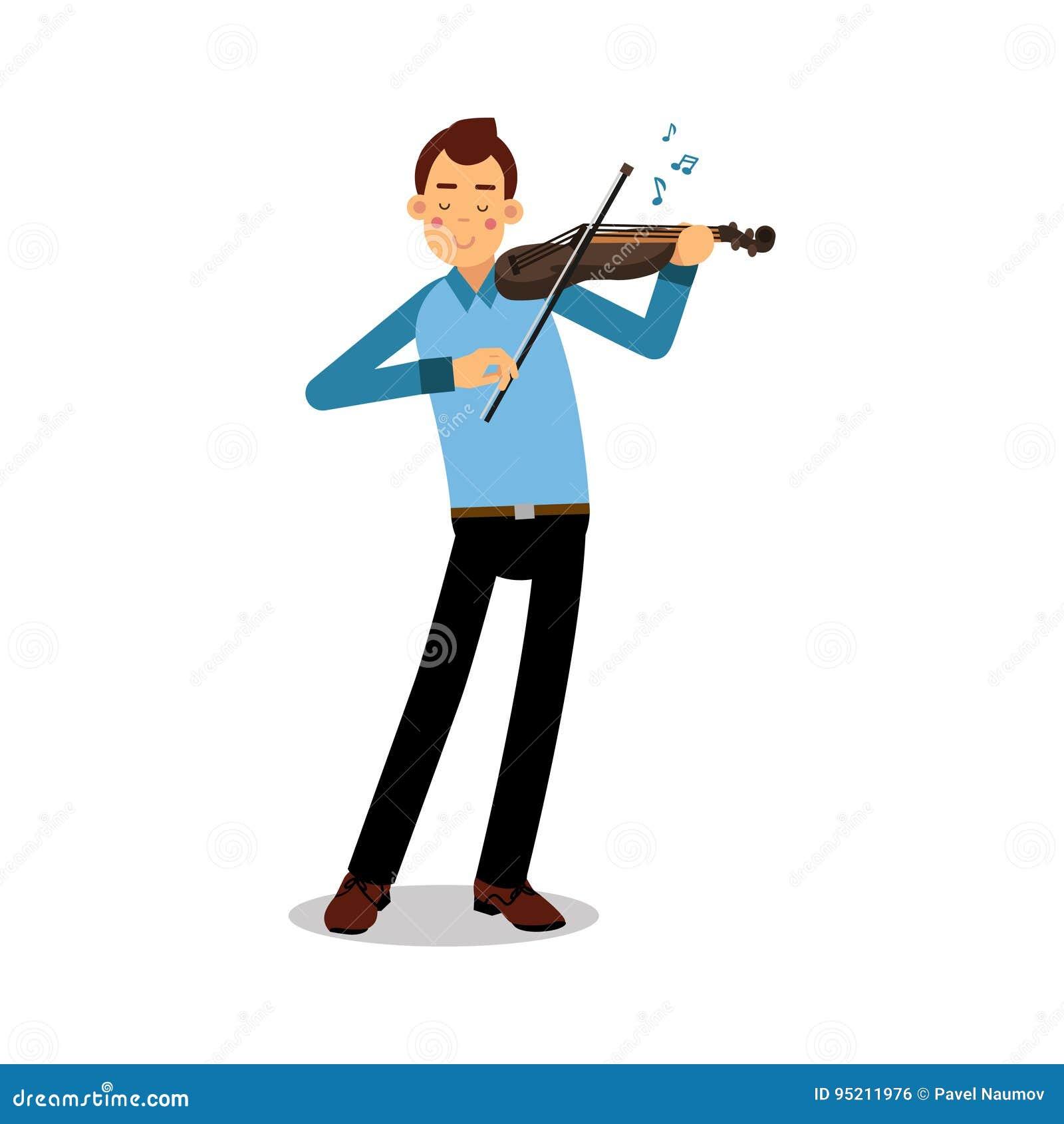 Jonge musicus die een karakter van het vioolbeeldverhaal, violist spelen die klassieke muziek vectorillustratie spelen