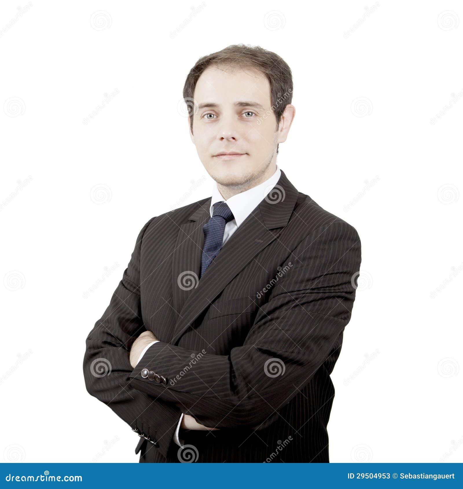 Jonge nostalgische zakenman met gevouwen wapens