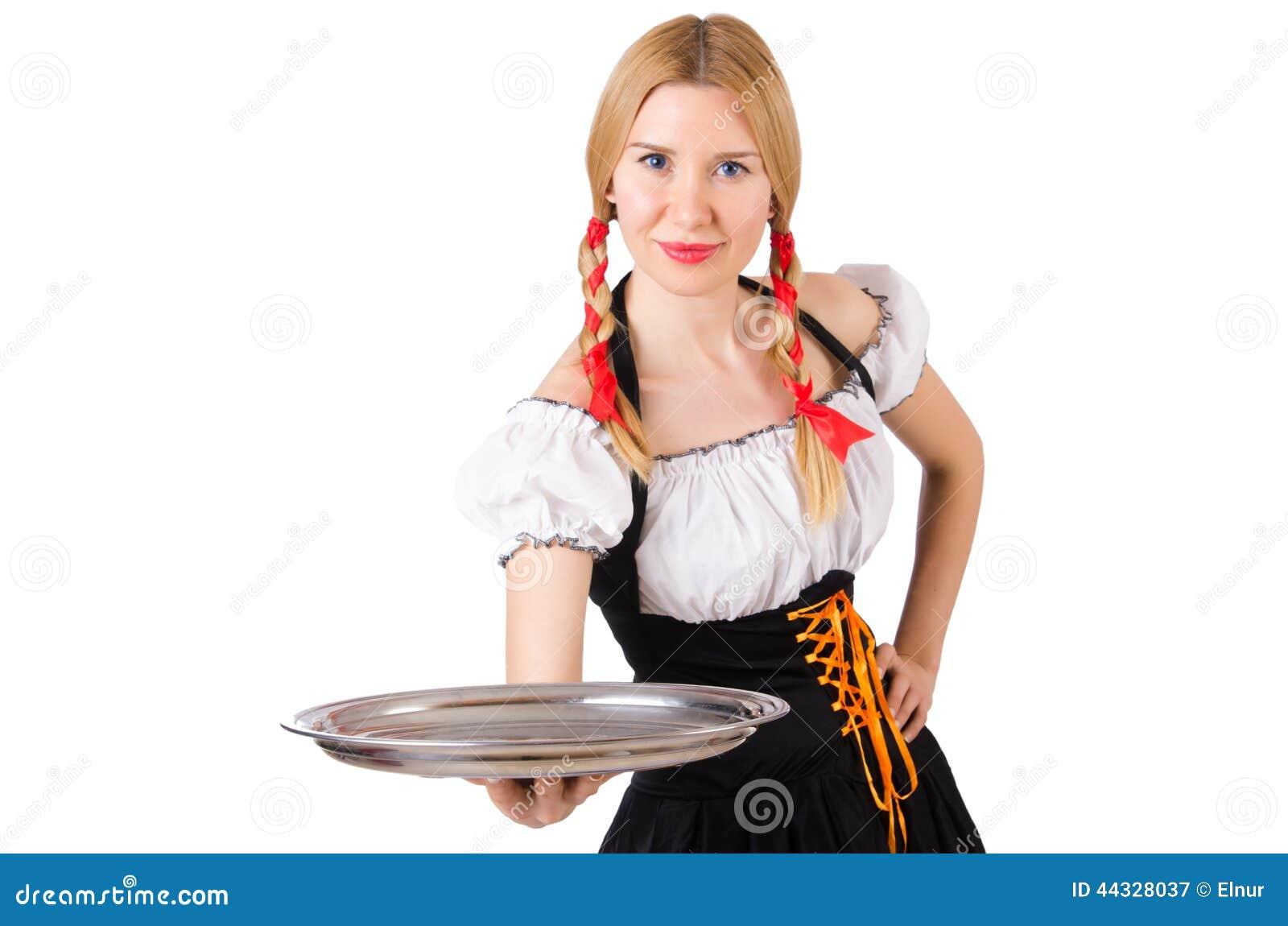 Jonge serveerster met dienblad