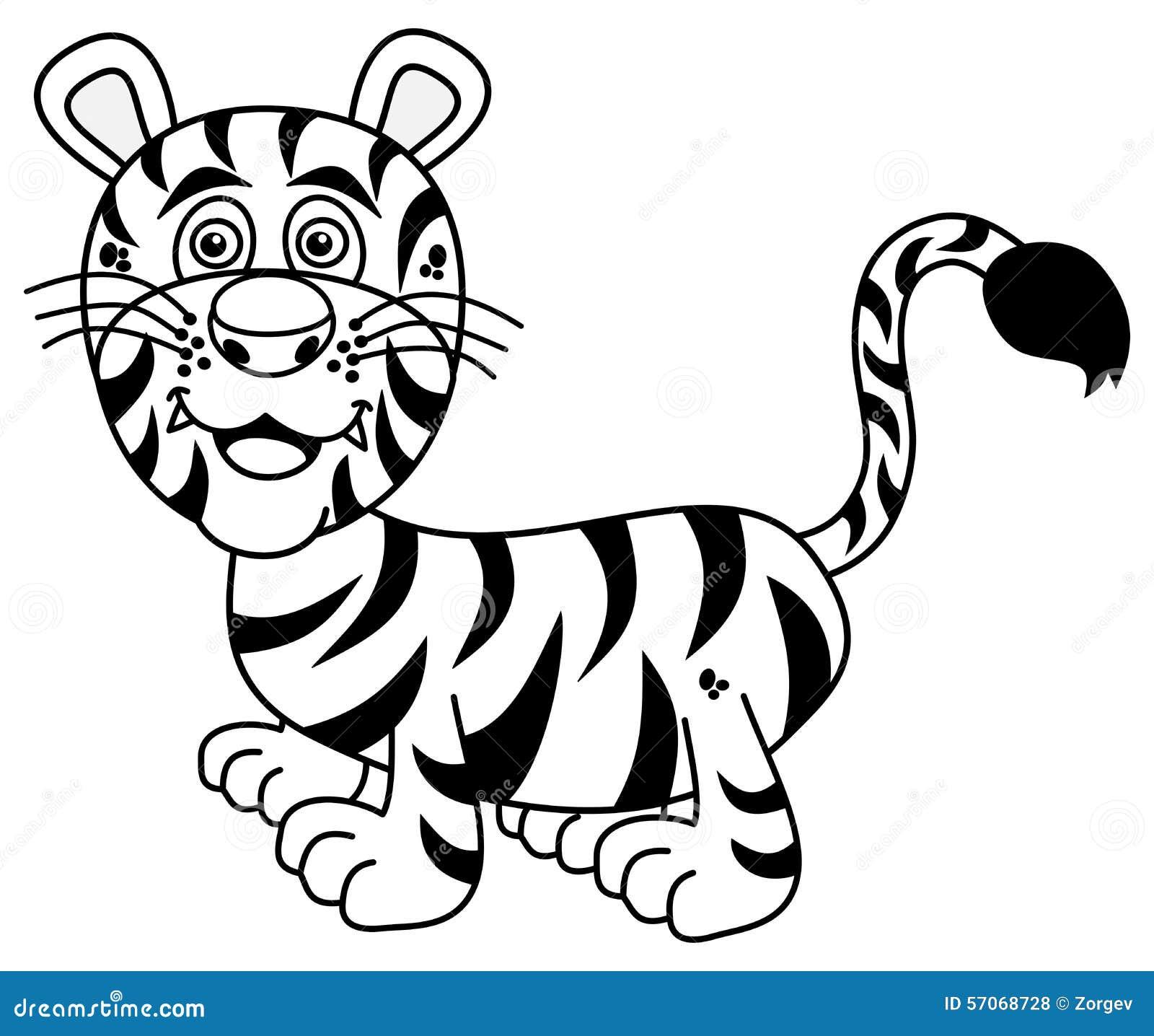 Jonge tijger die voor het kleuren glimlachen