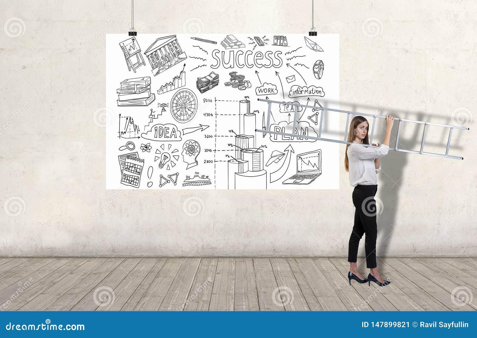Jonge vrouw die een ladder dragen door een muur met de schets van het businessplan op een witte banner 3d geef elementen in colla