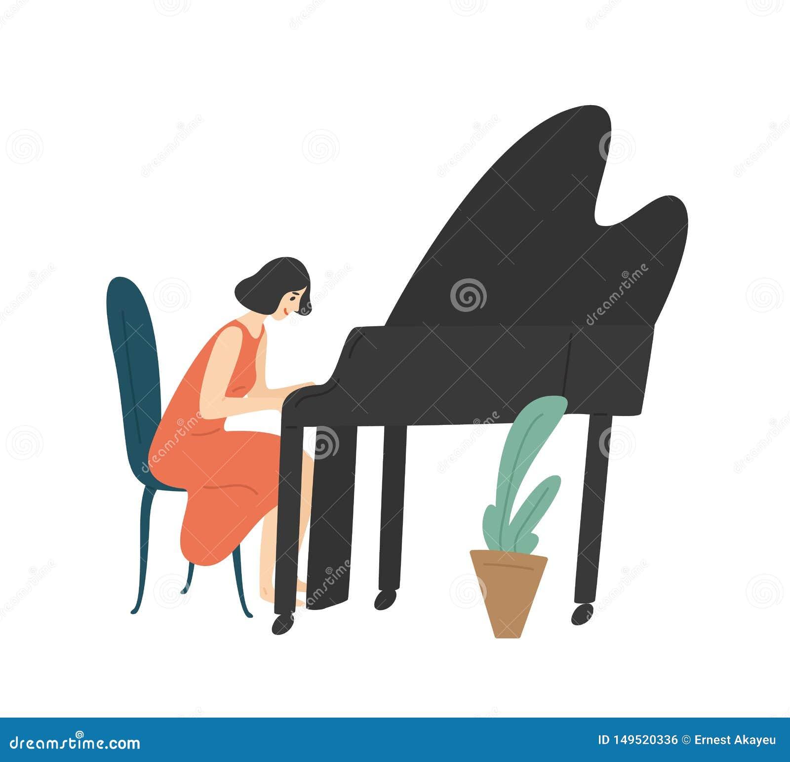 Jonge vrouw die grote piano spelen Vrouwelijke die pianist, musicus of componist op witte achtergrond wordt geïsoleerd Het gelukk