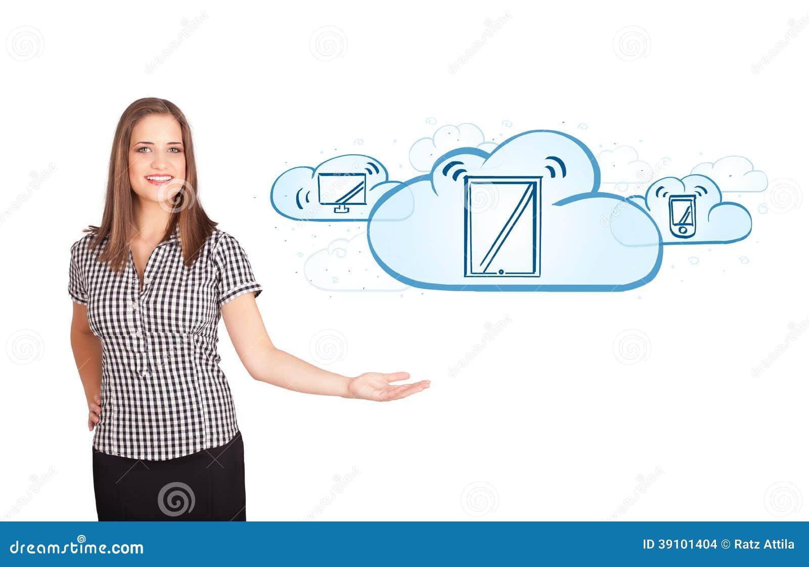 Jonge vrouw die moderne apparaten in wolken voorstellen