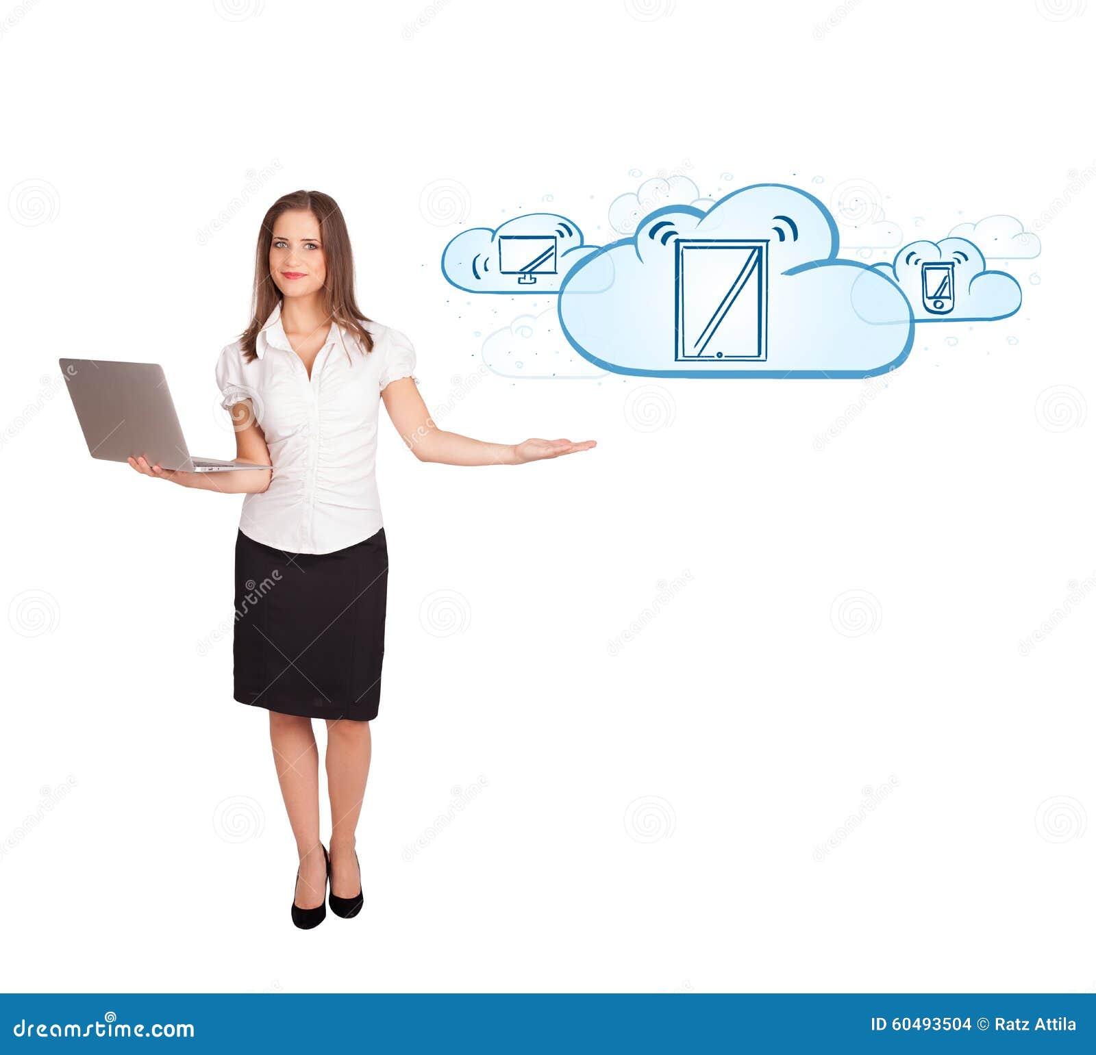 Jonge vrouw die moderne apparaten in wolken voorstelt stock foto afbeelding 60493504 - Moderne apparaten ...