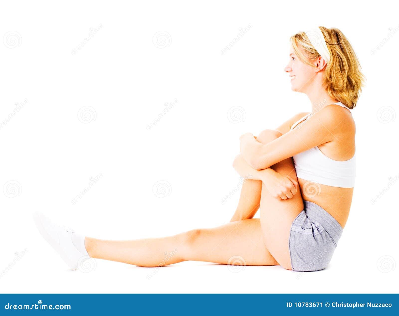 Jonge Vrouw die op Wit uitwerkt