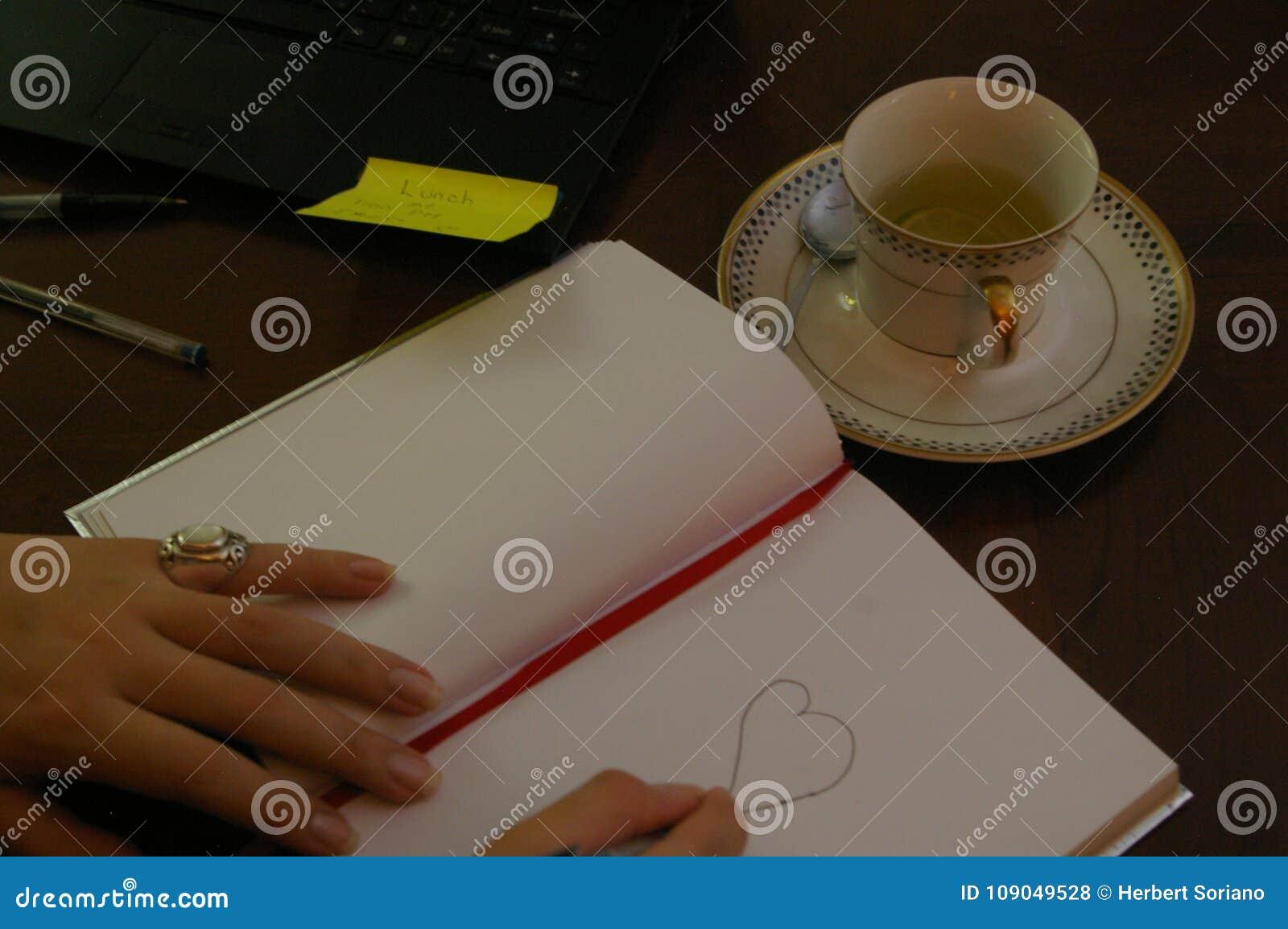 Jonge vrouw die op zijn bureau een haard trekken op een boek