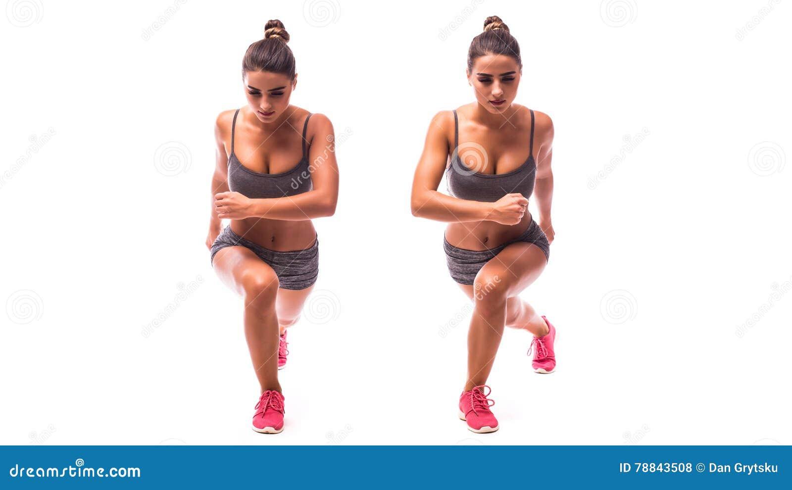 Jonge vrouw die sportoefening doen