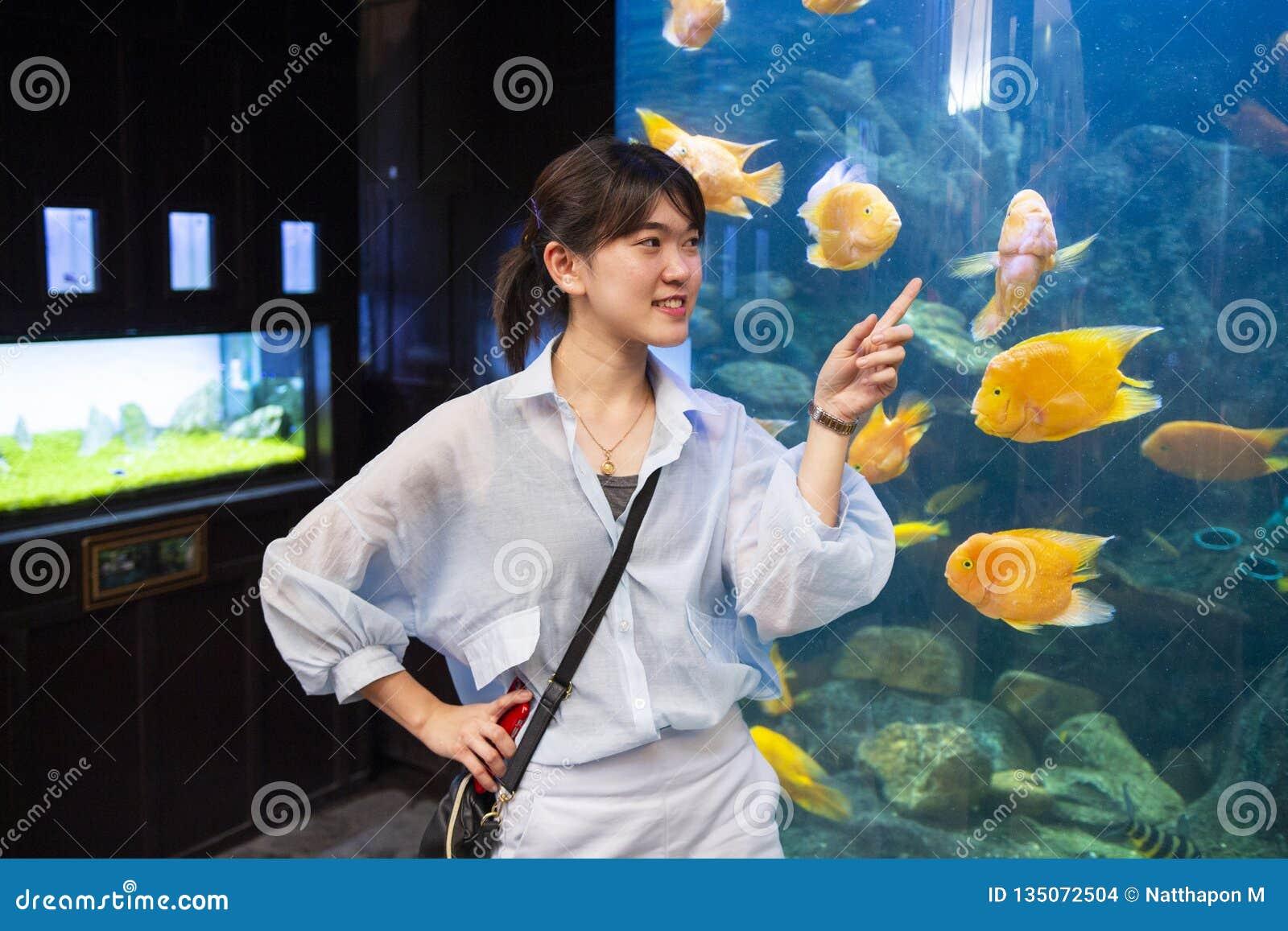 Jonge vrouw die vissen in een tank richten