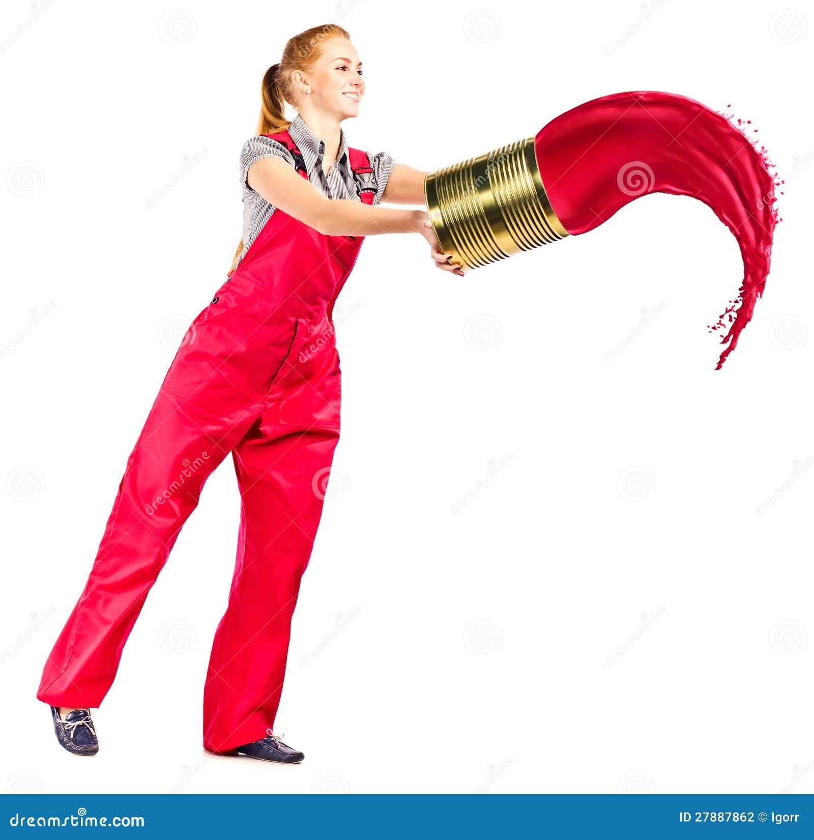 Ongebruikt Jonge Vrouw In Rode Overall Met Rode Verf Stock Foto - Afbeelding PG-34