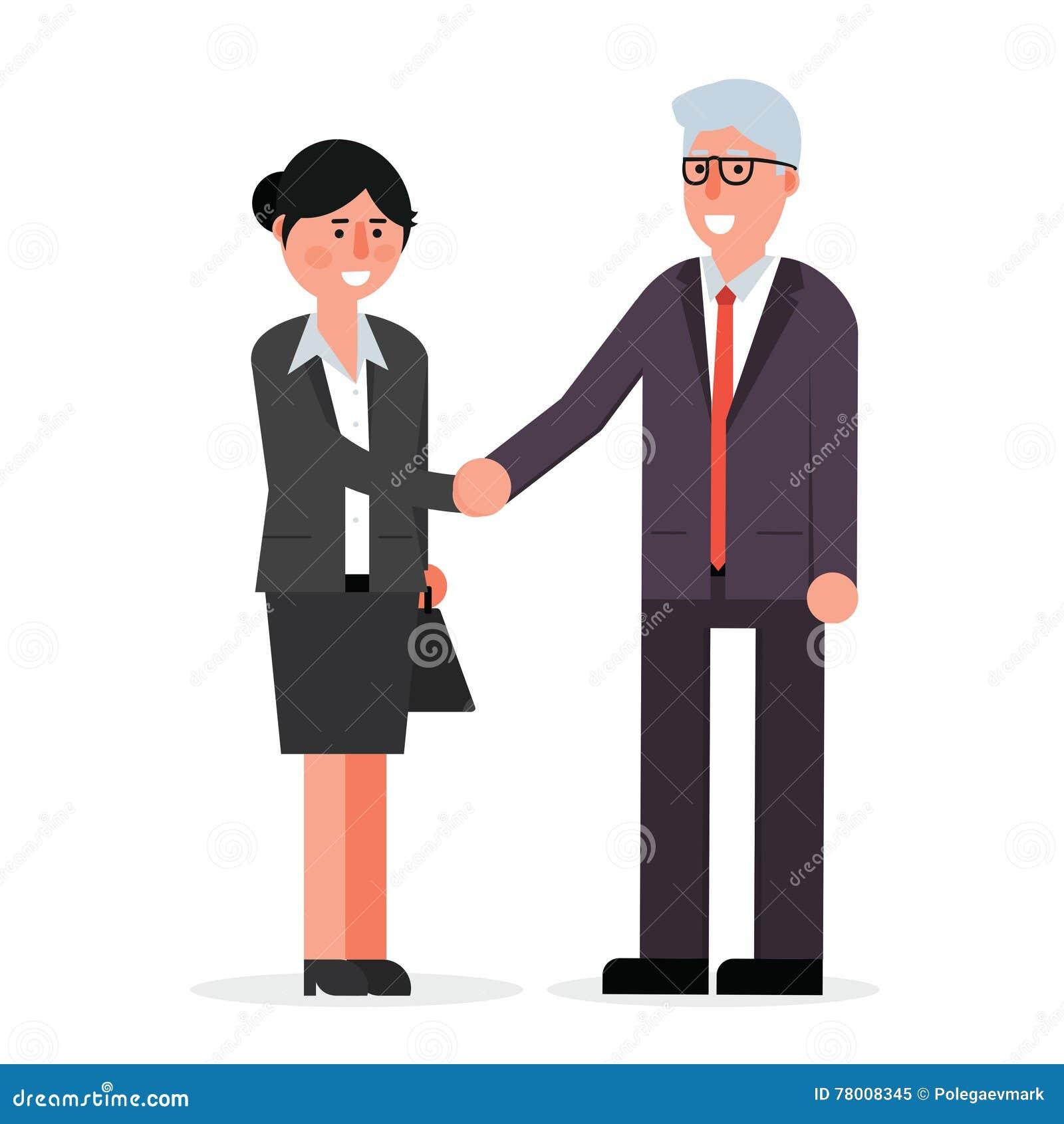 Jonge vrouwelijke werknemer en hogere zakenman het schudden handen en s