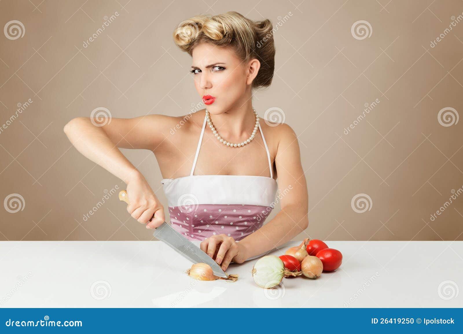 Jonge vrouwen scherpe ui