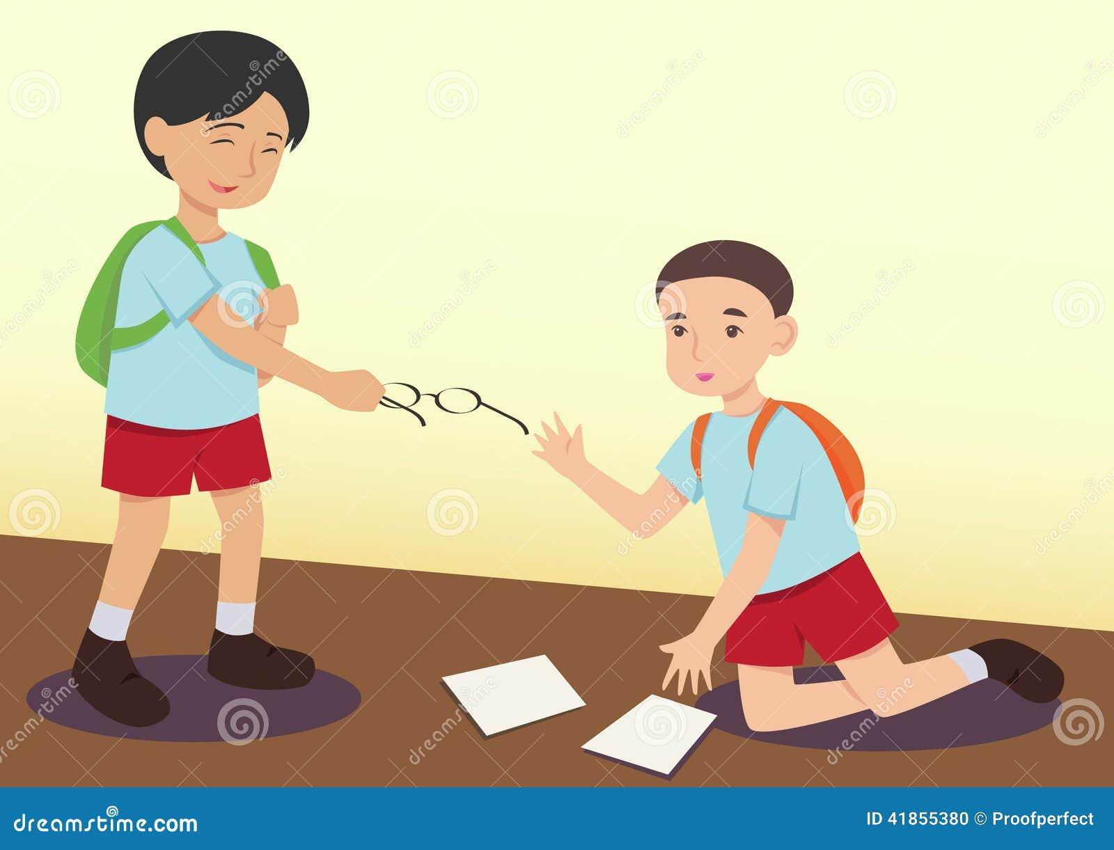 Jongen die een ander jong geitje helpen