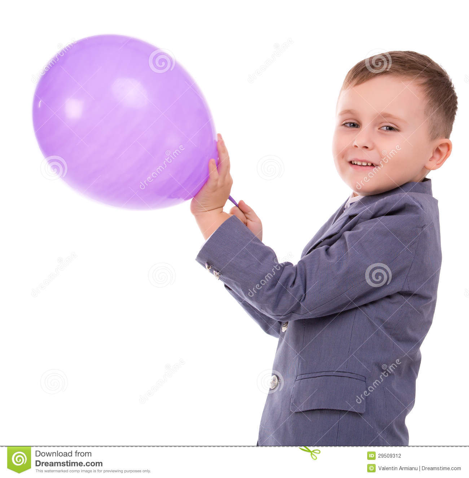 Jongen die een ballon houden