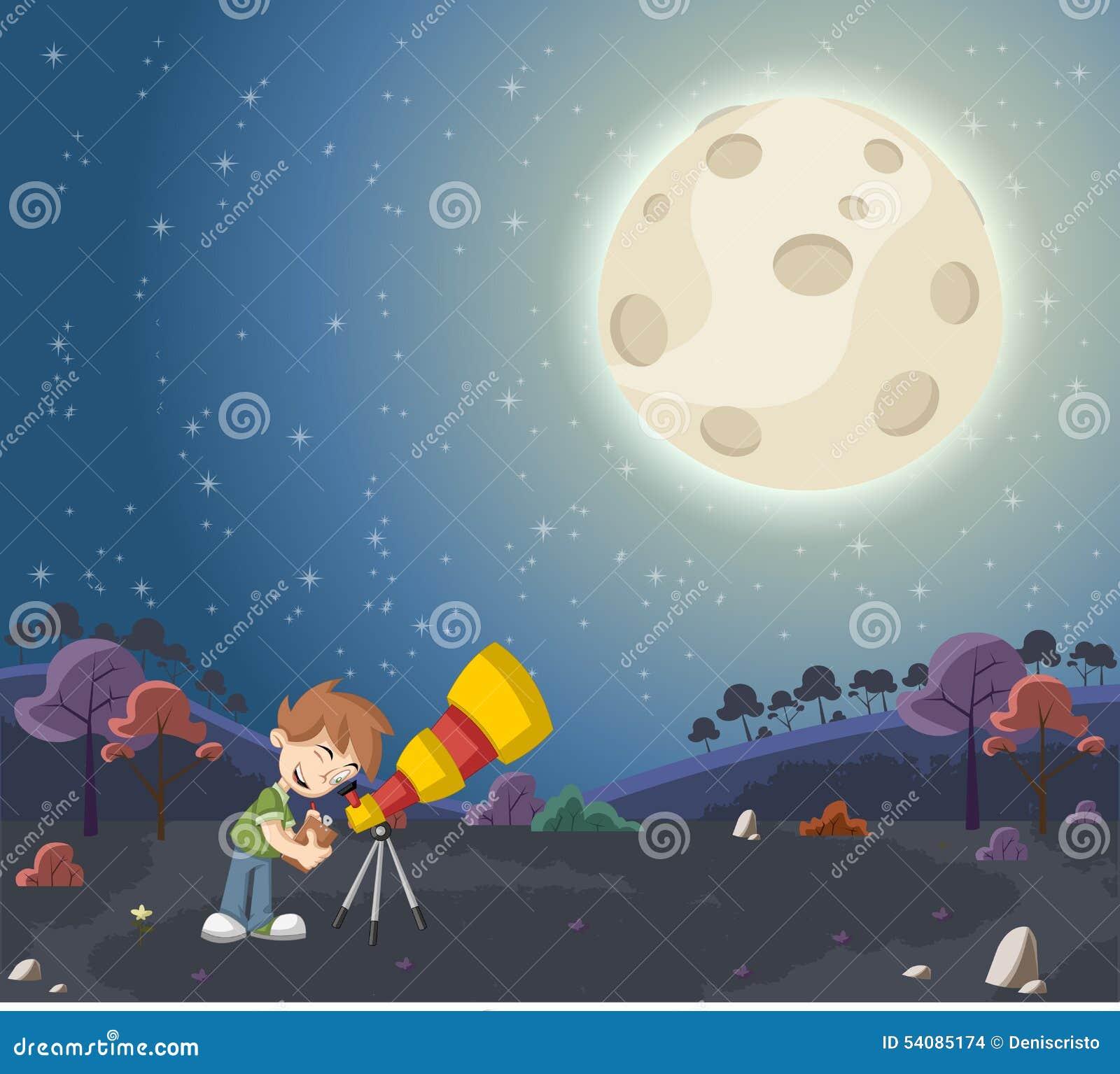 Jongen die een telescoop gebruiken om de maan te bekijken