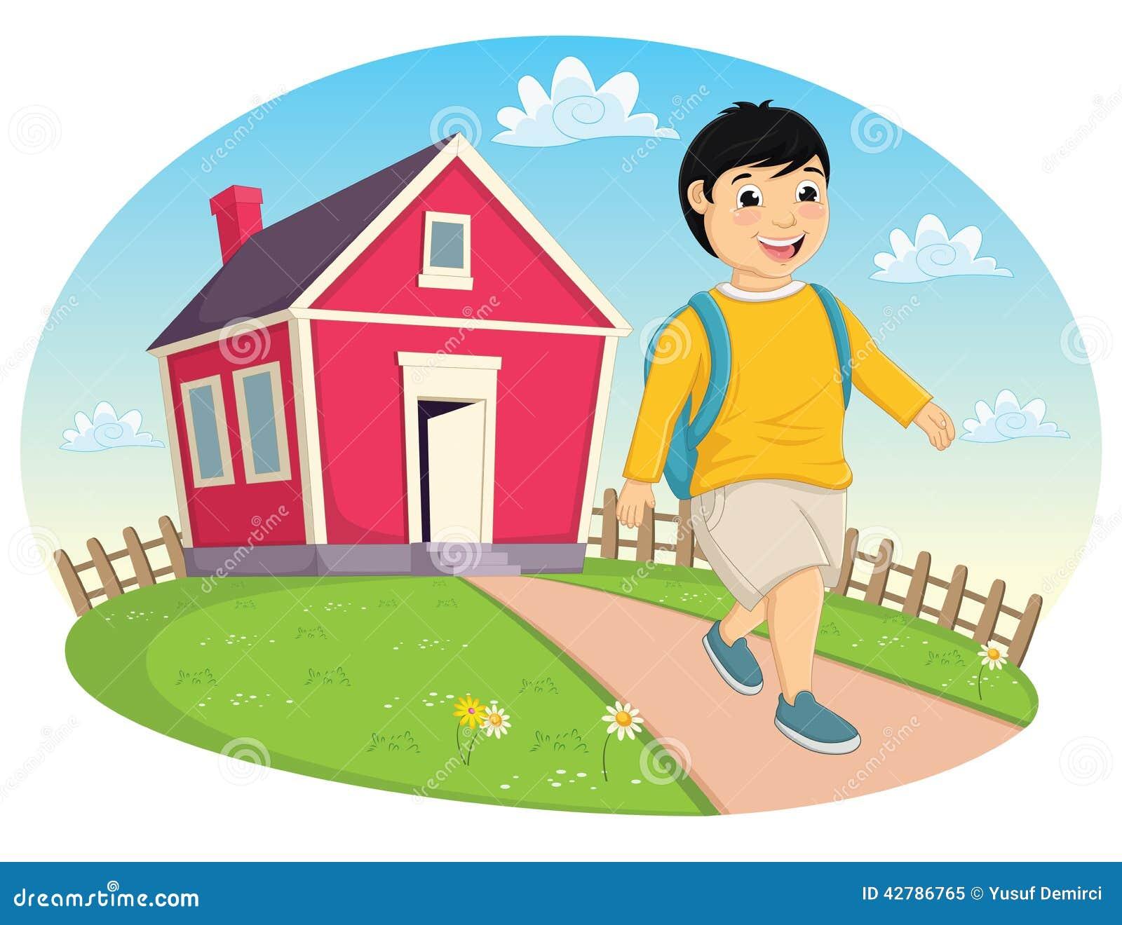 Jongen die Huis Vectorillustratie verlaten